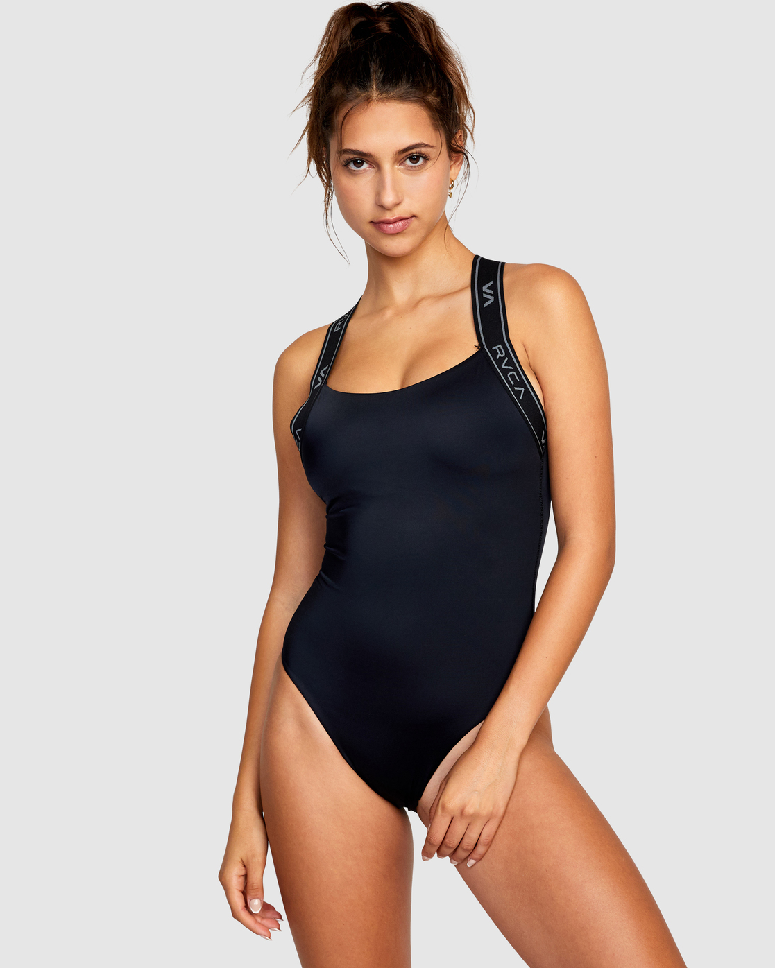 0 VA Band Cheeky One Piece Swimsuit Black AVJX100109 RVCA
