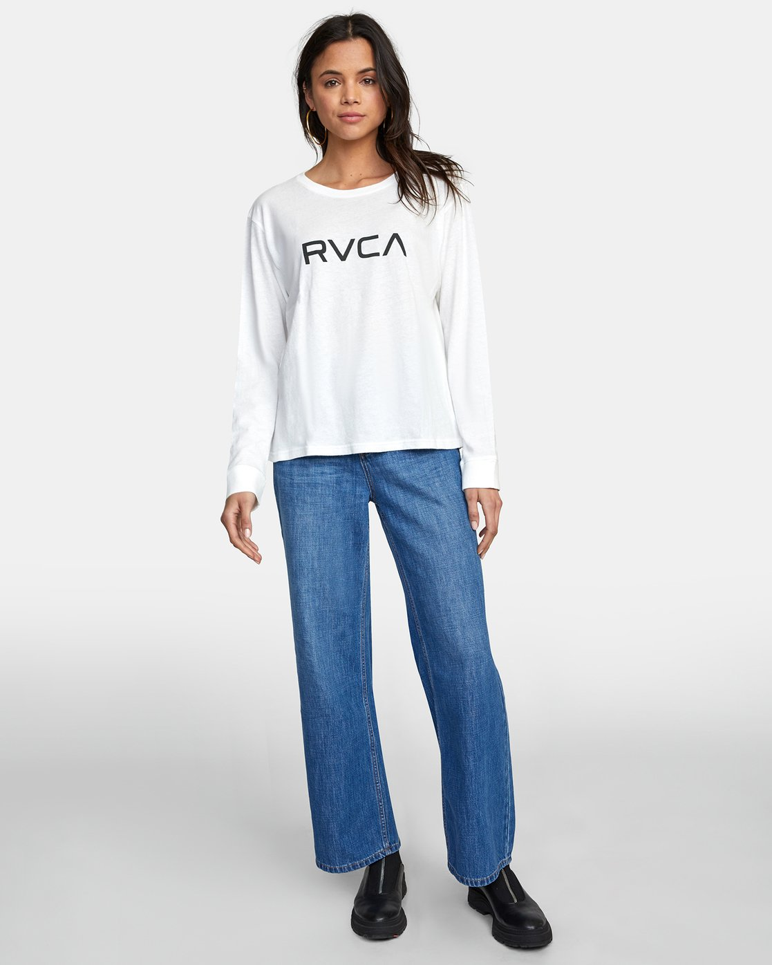 3 BIG RVCA STOLEN LONG SLEEVE TEE White AVJZT00103 RVCA