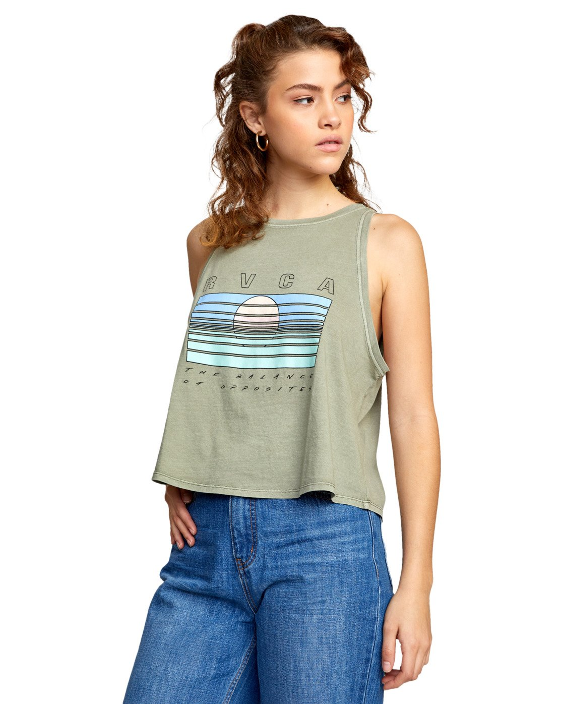 5 BLINDED TANK TOP Green AVJZT00110 RVCA