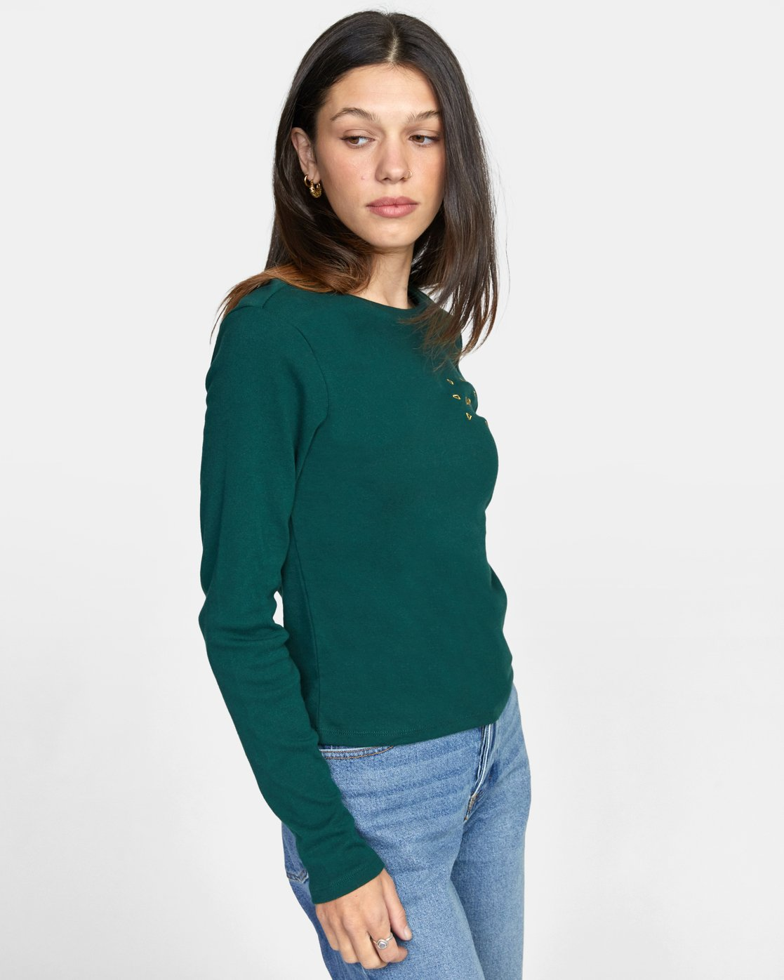 5 SPARKS LONG SLEEVE TEE Green AVJZT00119 RVCA