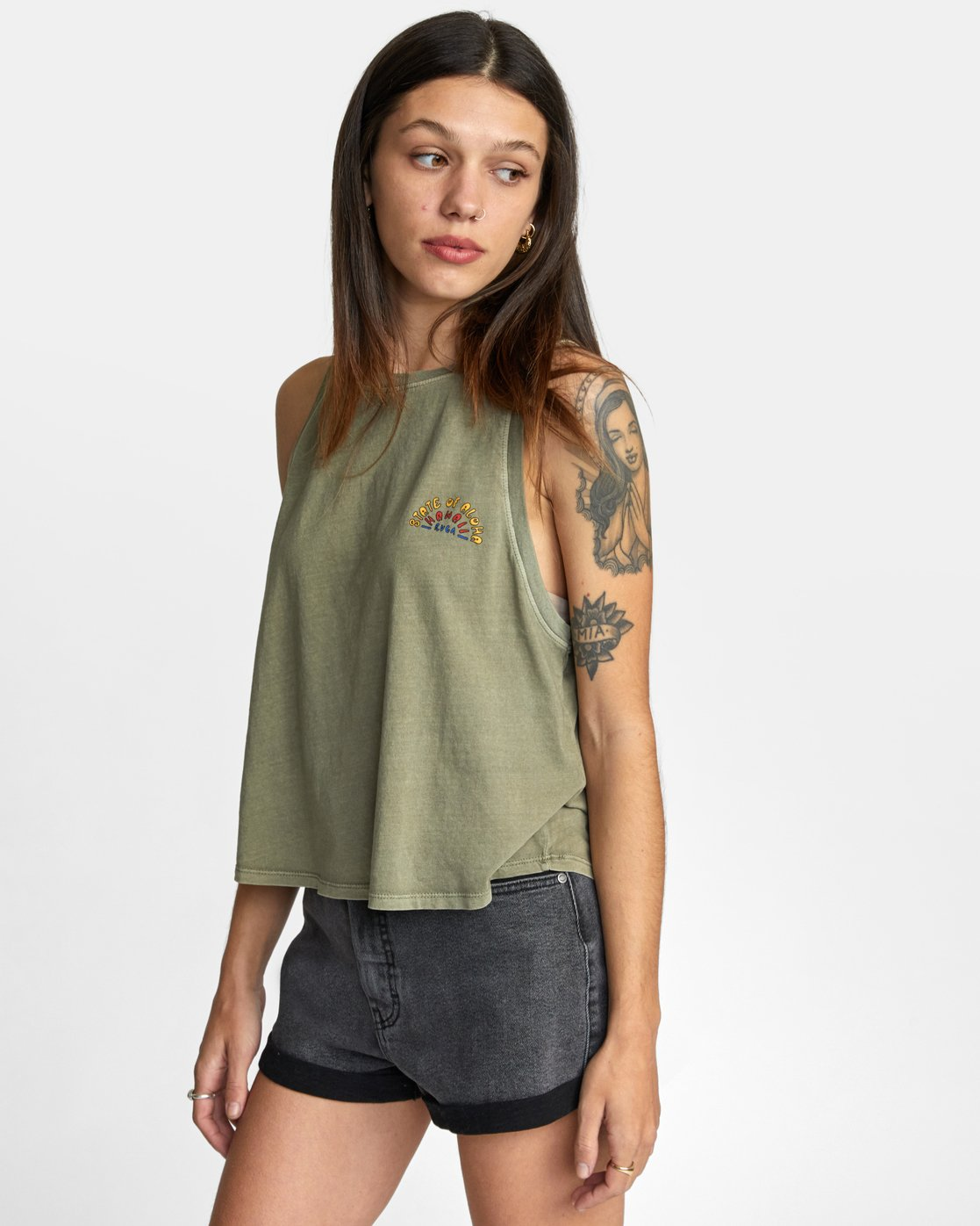 4 STATE OF ALOHA TANK TOP Green AVJZT00144 RVCA