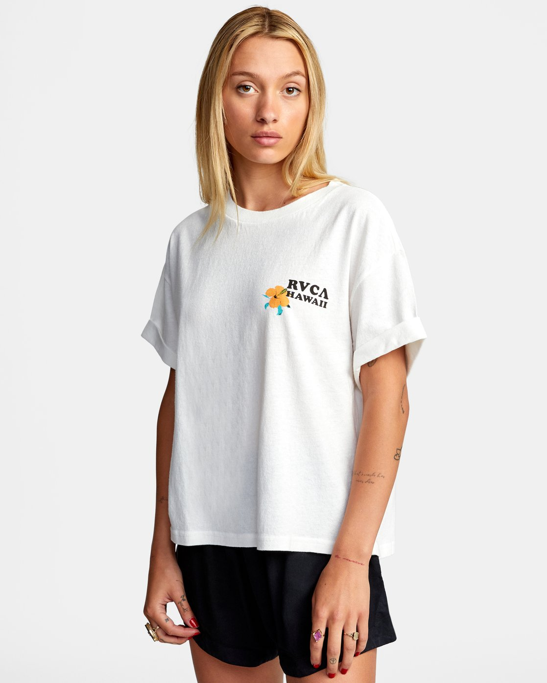 4 WISH YOU SHORT SLEEVE TEE White AVJZT00227 RVCA