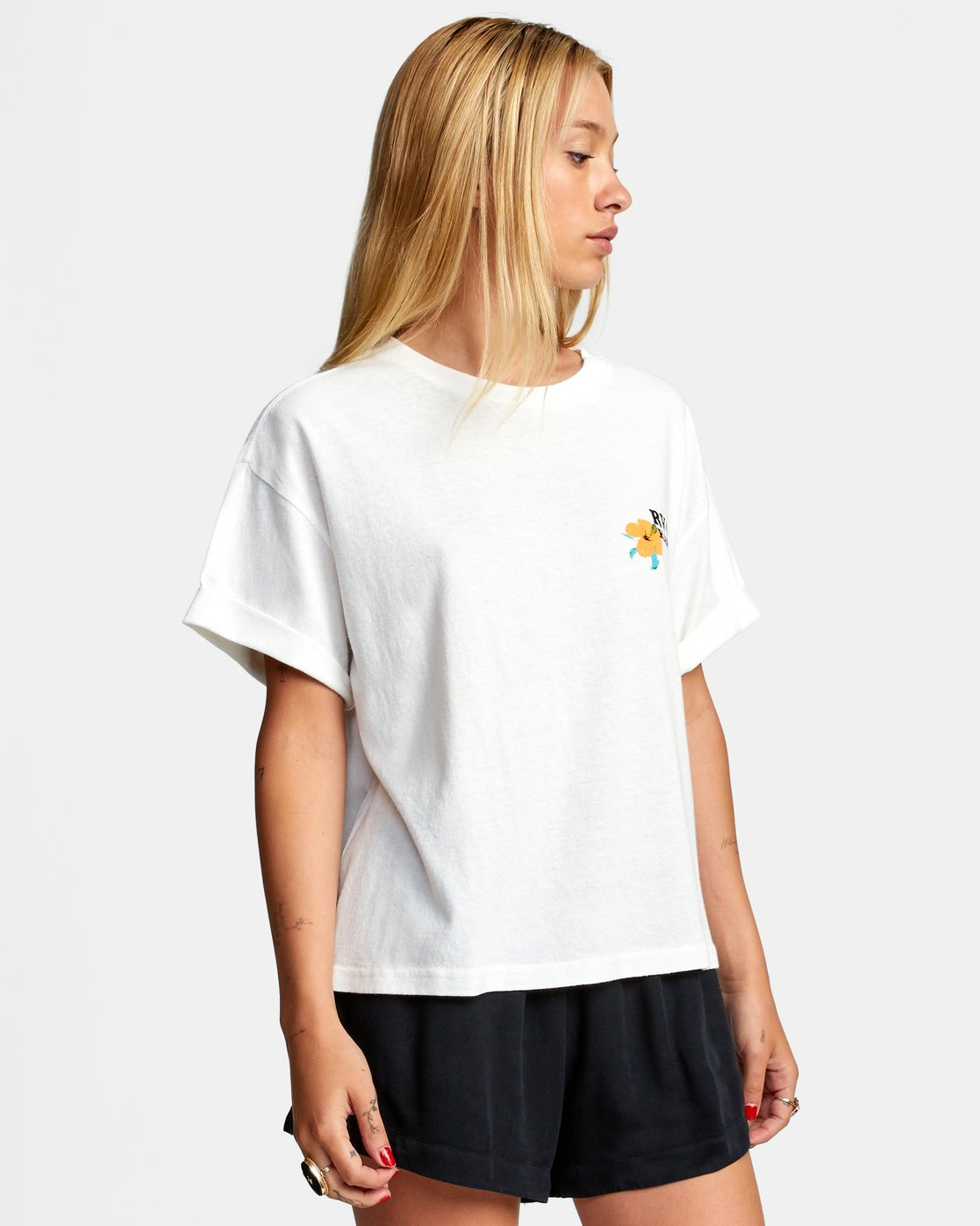 5 WISH YOU SHORT SLEEVE TEE White AVJZT00227 RVCA
