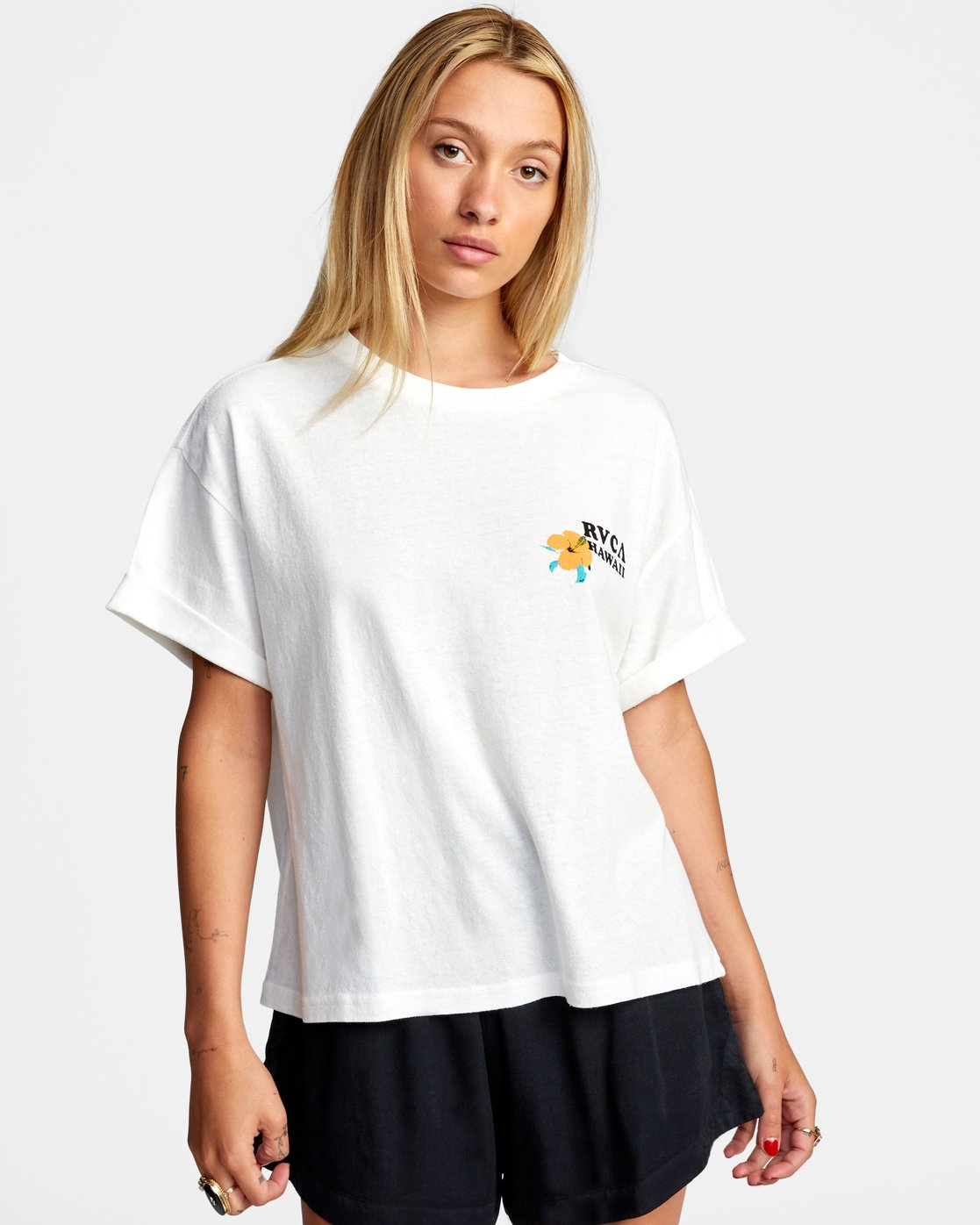 6 WISH YOU SHORT SLEEVE TEE White AVJZT00227 RVCA