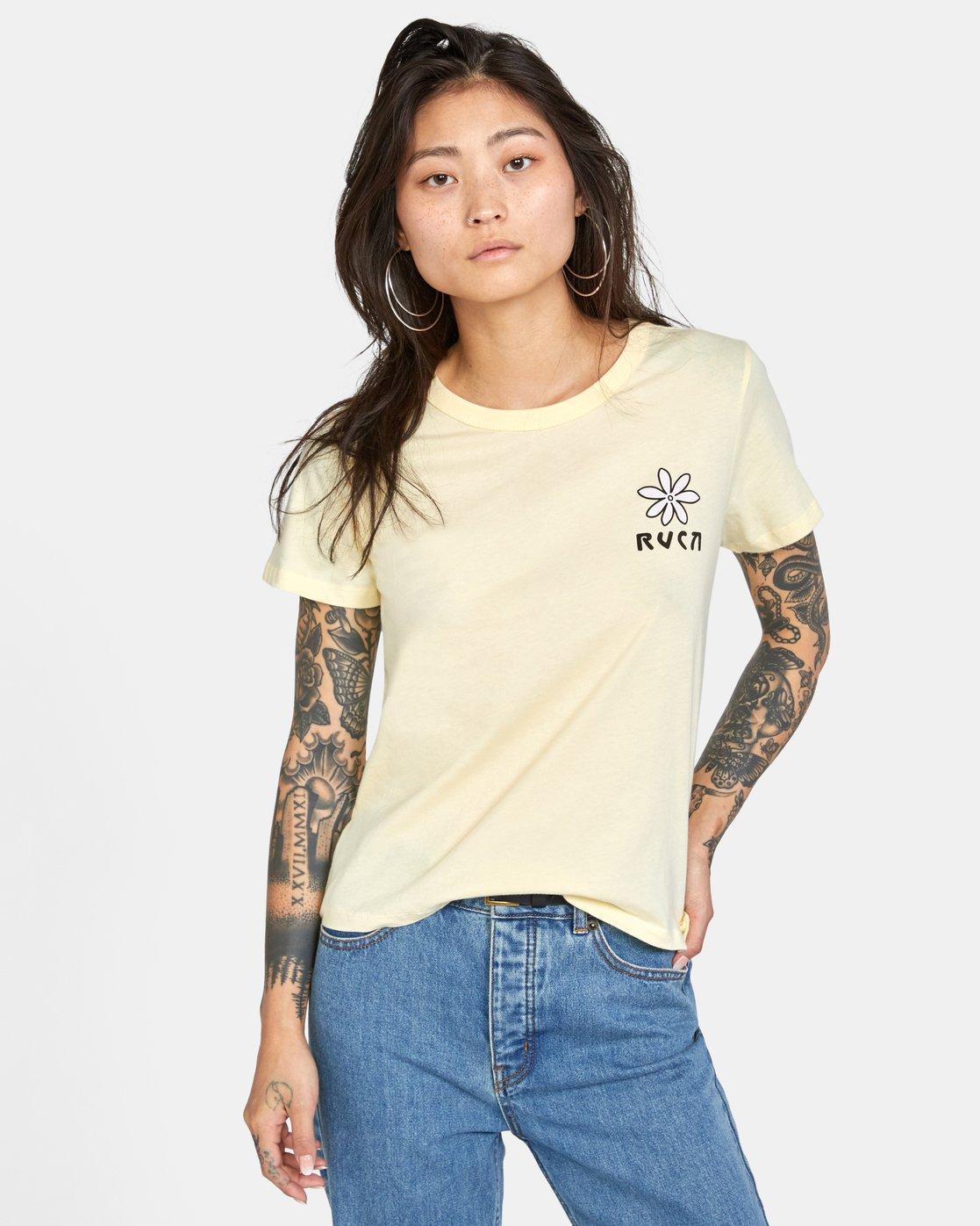 0 Throwback Short Sleeve Tee Yellow AVJZT00271 RVCA