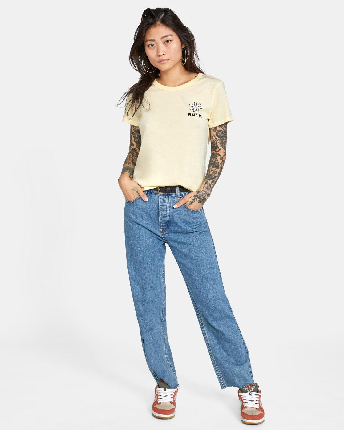 2 Throwback Short Sleeve Tee Yellow AVJZT00271 RVCA