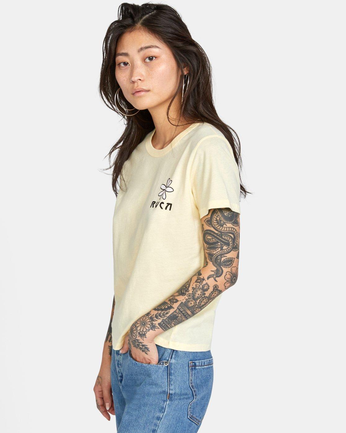 3 Throwback Short Sleeve Tee Yellow AVJZT00271 RVCA