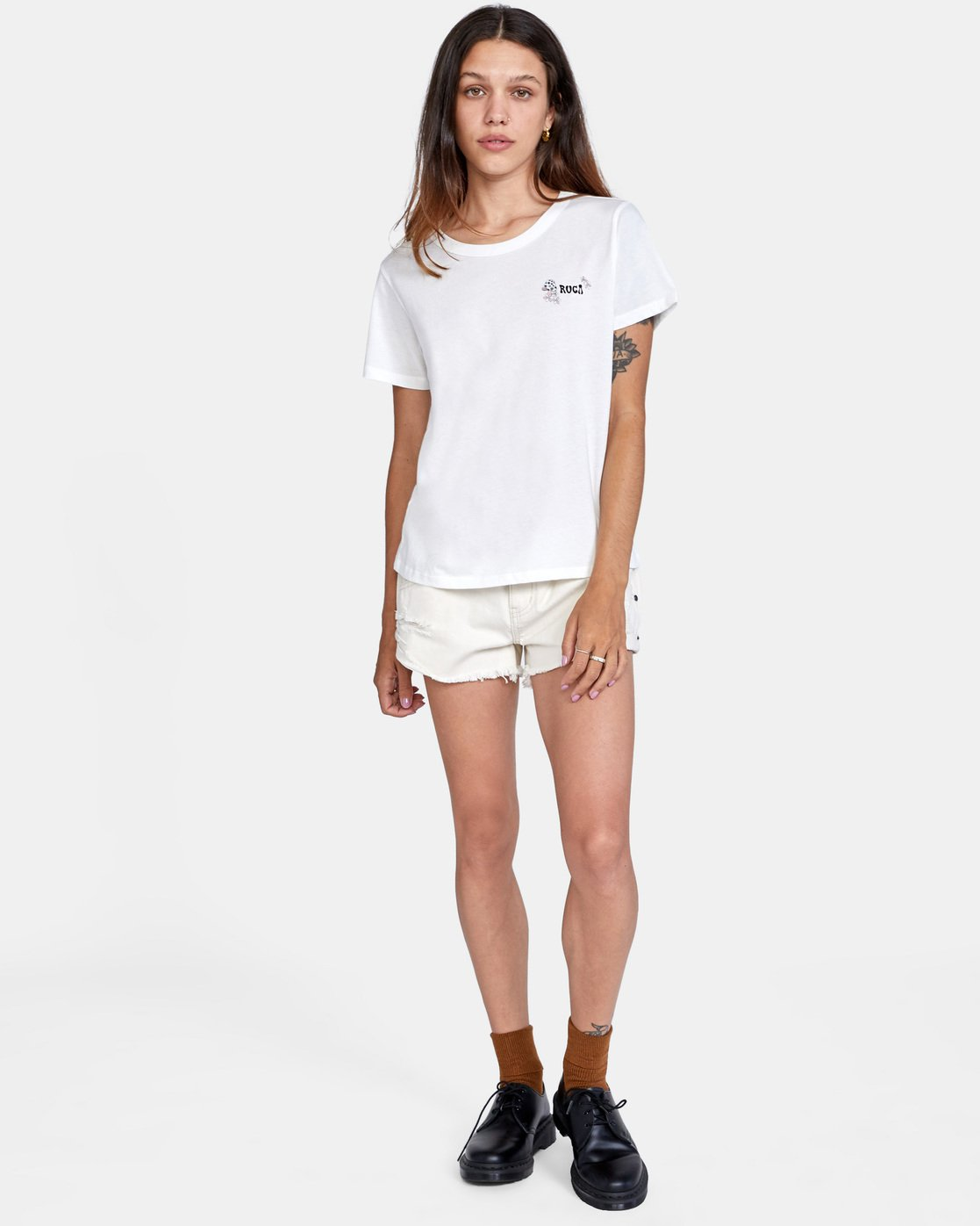 2 Peace Short Sleeve Tee White AVJZT00296 RVCA