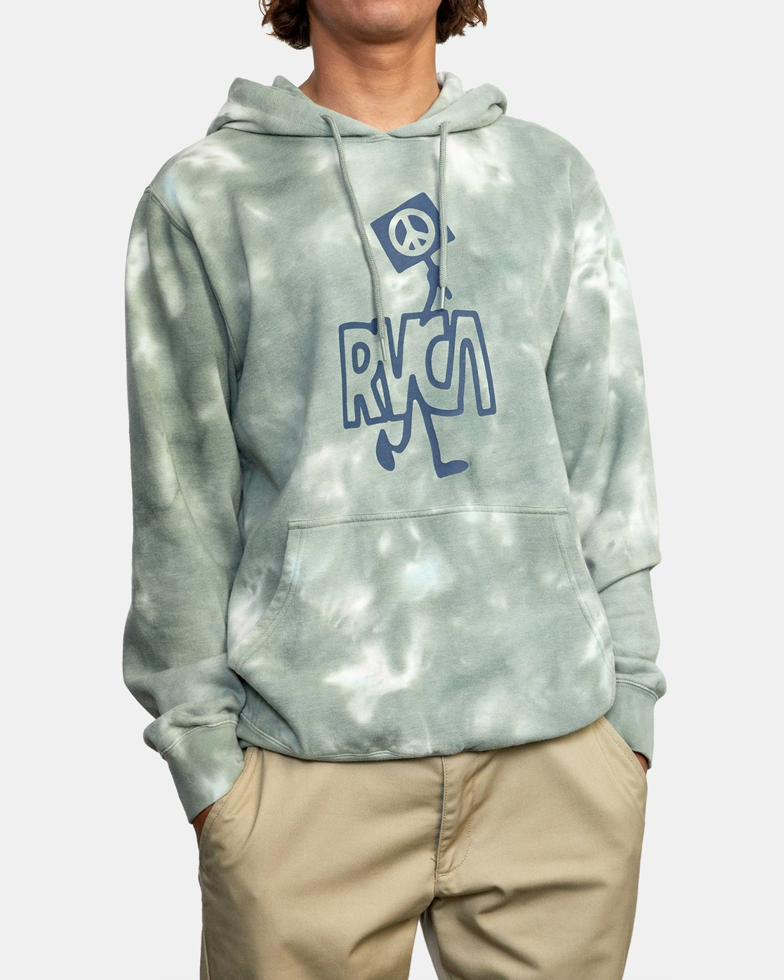 1 NEARBY TIE DYE PULLOVER HOODIE Green AVYFT00164 RVCA