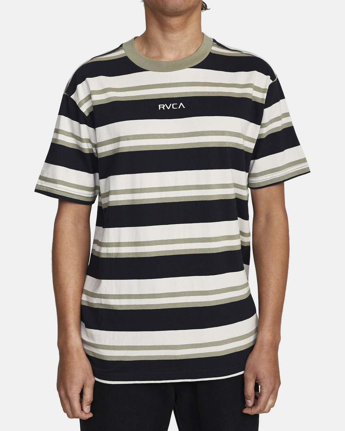 1 CURTIS STRIPE II SHORT SLEEVE TEE Black AVYKT00101 RVCA