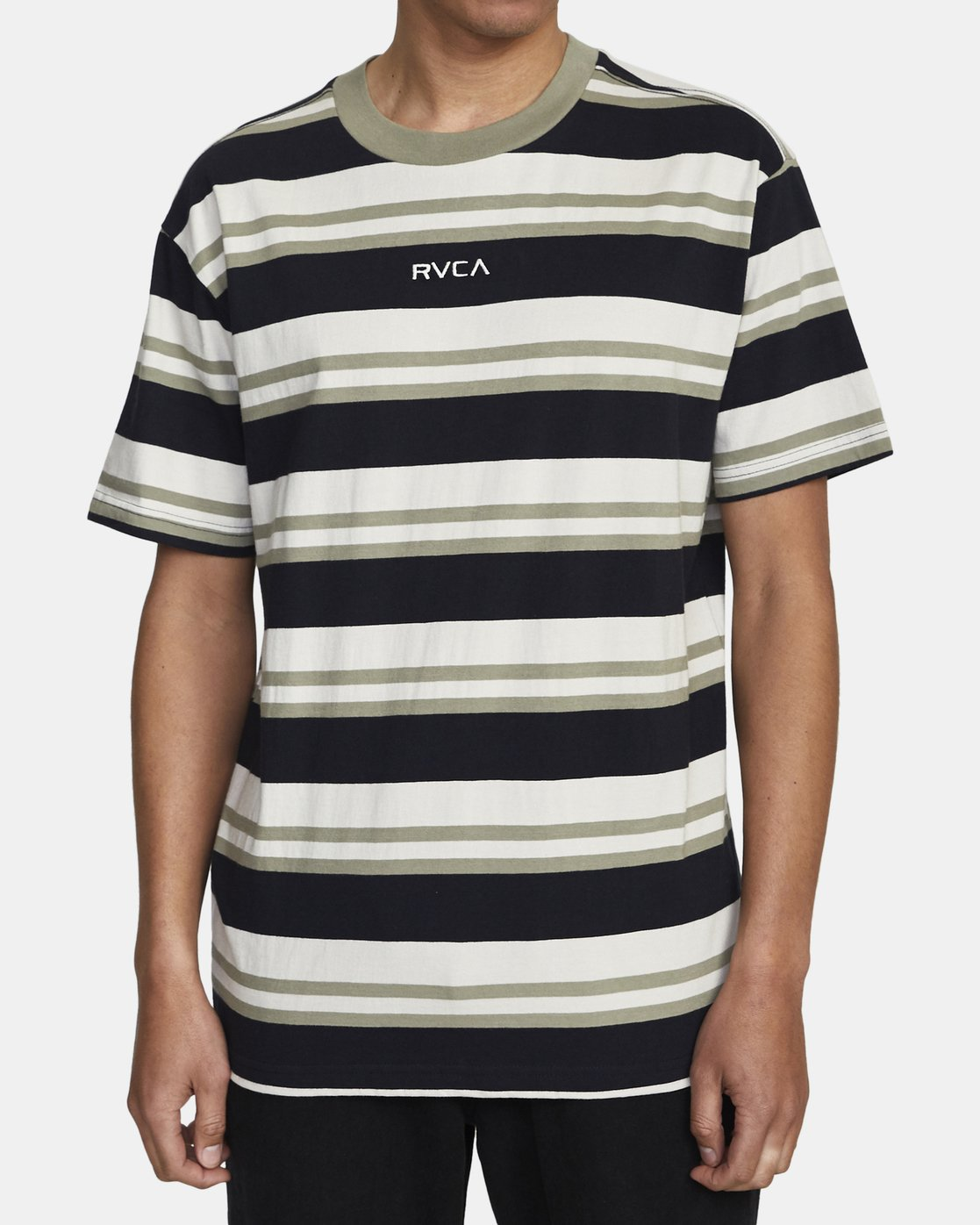 2 CURTIS STRIPE II SHORT SLEEVE TEE Black AVYKT00101 RVCA
