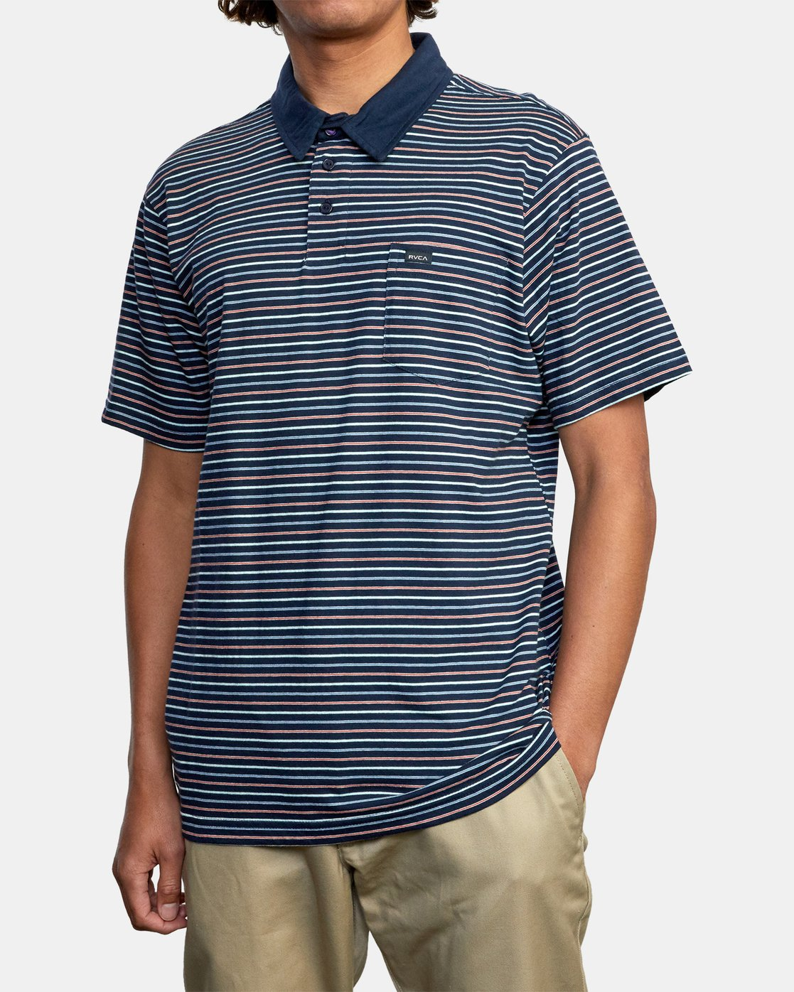 4 CASSADY STRIPE SHORT SLEEVE POLO SHIRT Blue AVYKT00124 RVCA