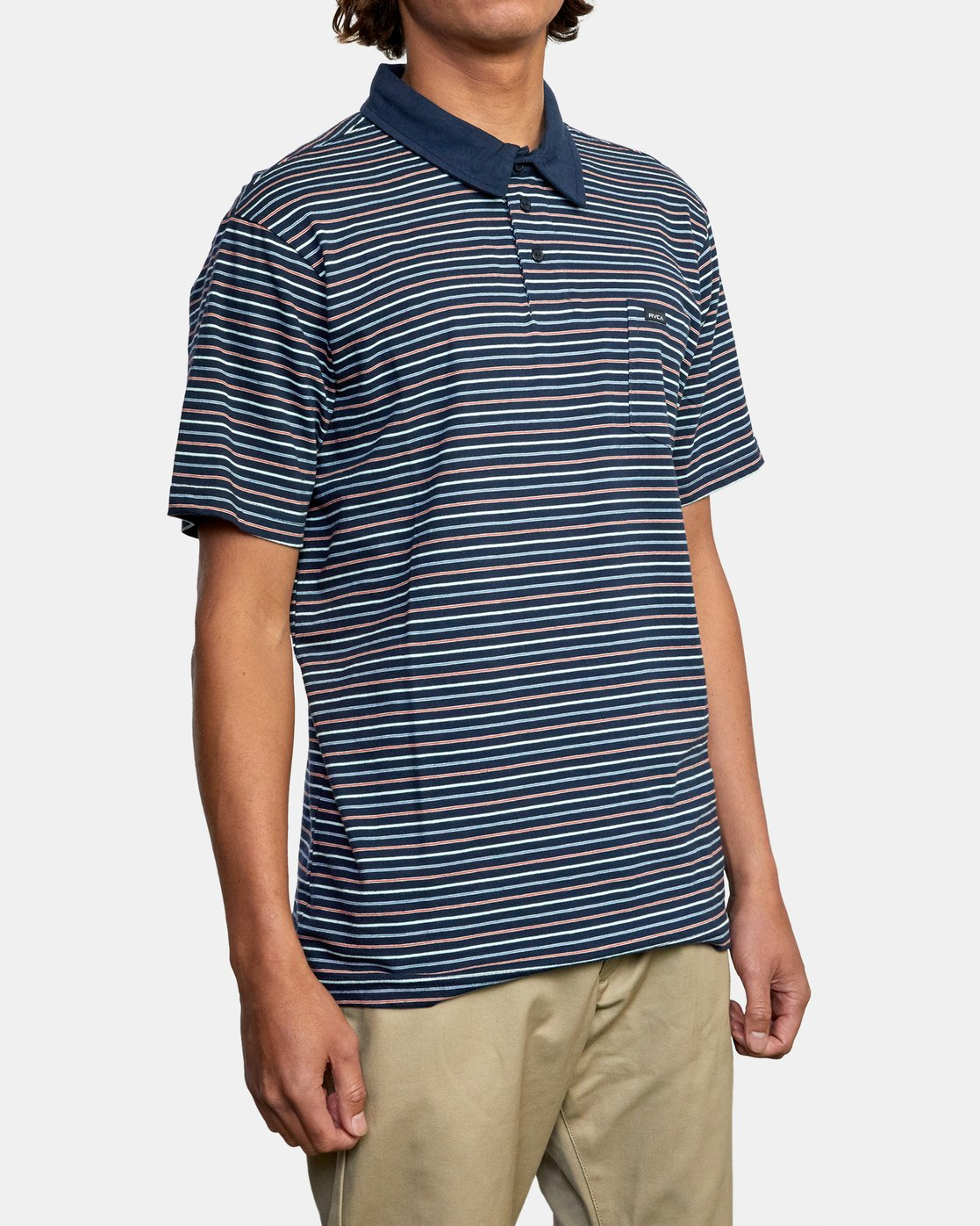 6 CASSADY STRIPE SHORT SLEEVE POLO SHIRT Blue AVYKT00124 RVCA