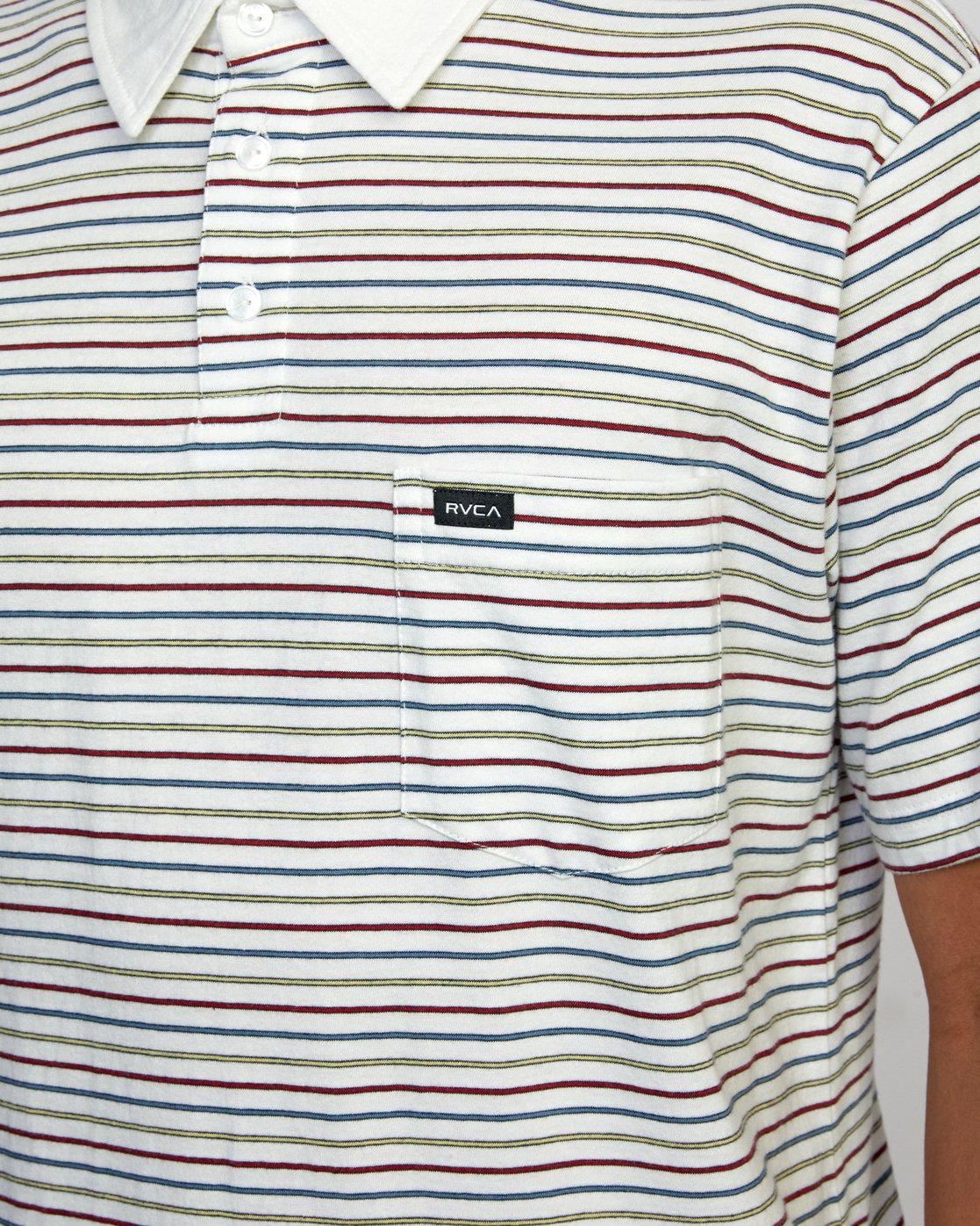 3 CASSADY STRIPE SHORT SLEEVE POLO SHIRT White AVYKT00124 RVCA