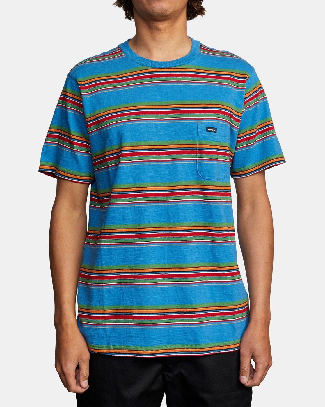 1 El Rosario Stripe Short Sleeve Tee Blue AVYKT00149 RVCA