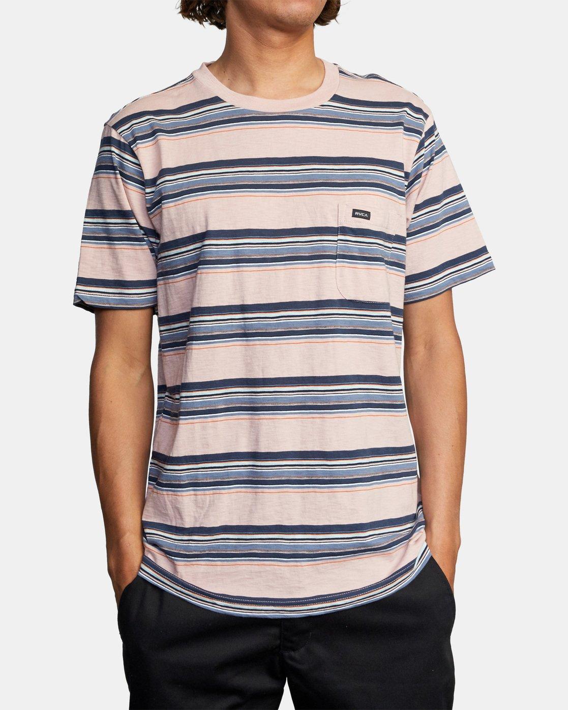 1 El Rosario Stripe Short Sleeve Tee Grey AVYKT00149 RVCA