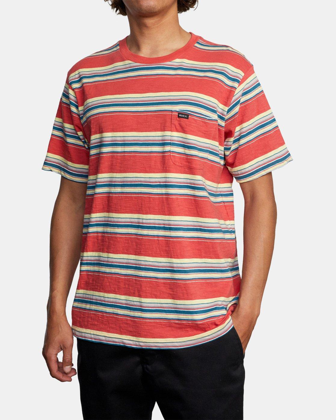 4 El Rosario Stripe Short Sleeve Tee White AVYKT00149 RVCA
