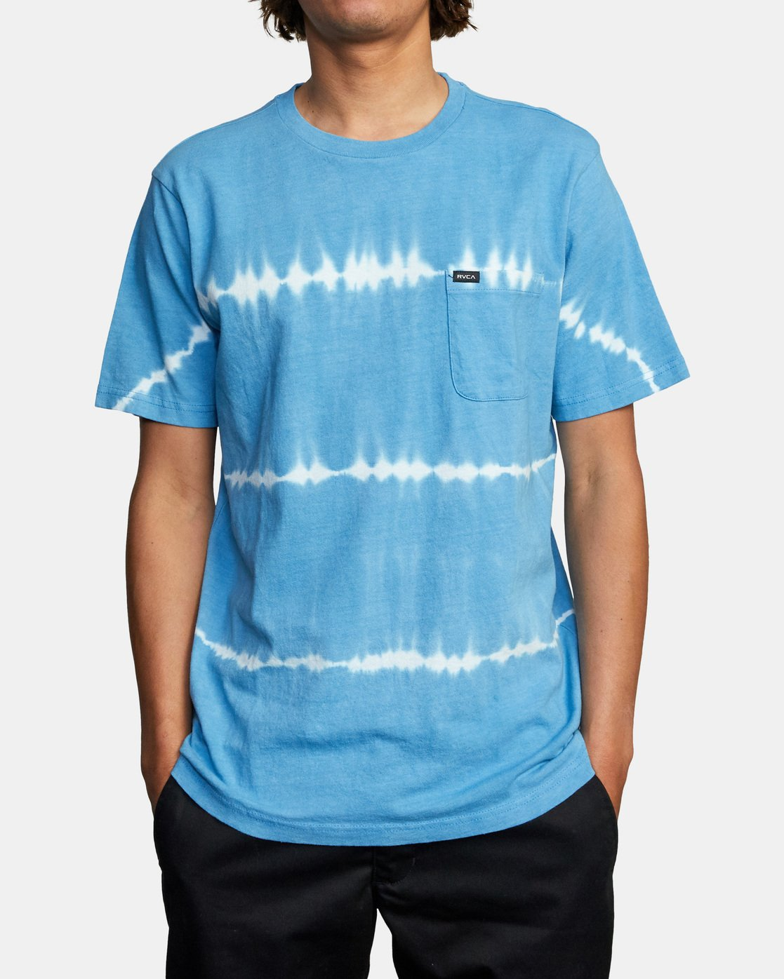 1 Manic Tie-Dye Stripe Short Sleeve Tee Blue AVYKT00153 RVCA