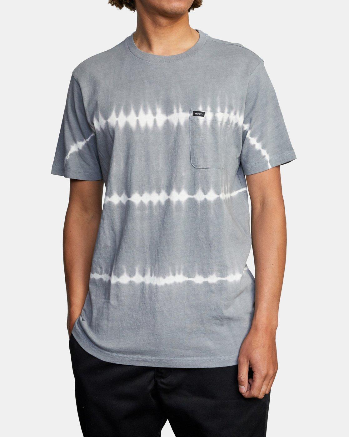 3 Manic Tie-Dye Stripe Short Sleeve Tee Grey AVYKT00153 RVCA