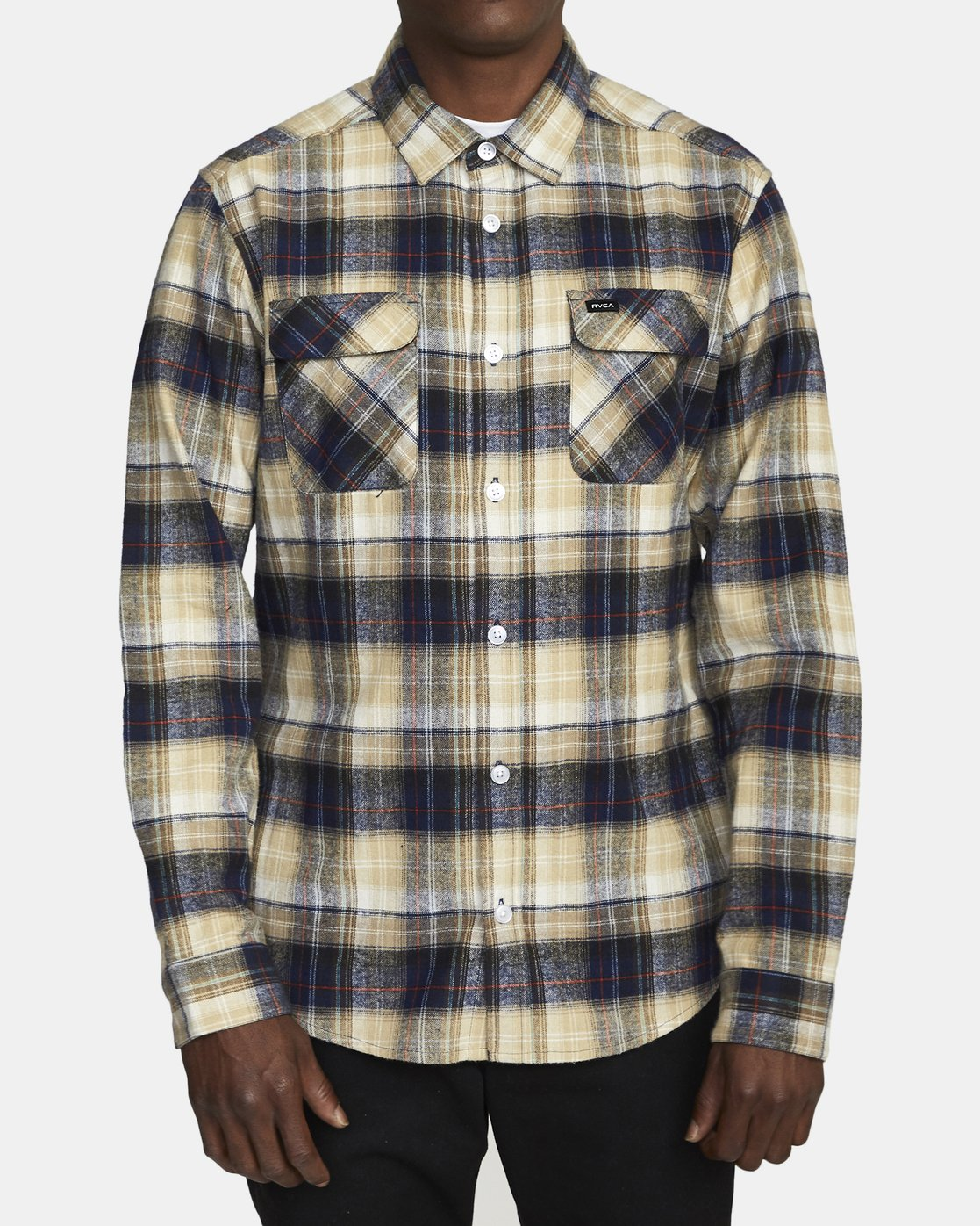 2 EMERSON FLANNEL LONG SLEEVE SHIRT Blue AVYWT00134 RVCA