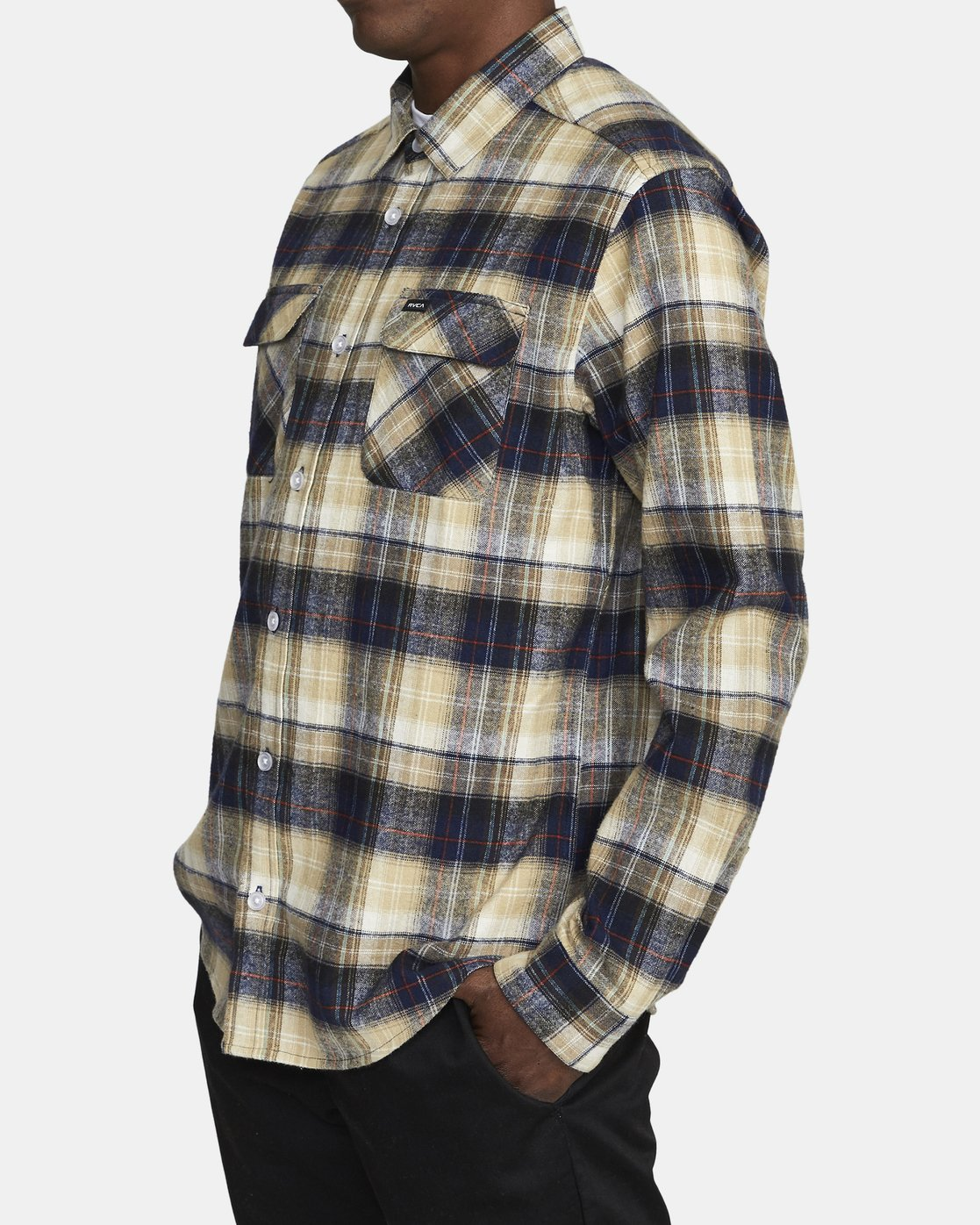 4 EMERSON FLANNEL LONG SLEEVE SHIRT Blue AVYWT00134 RVCA