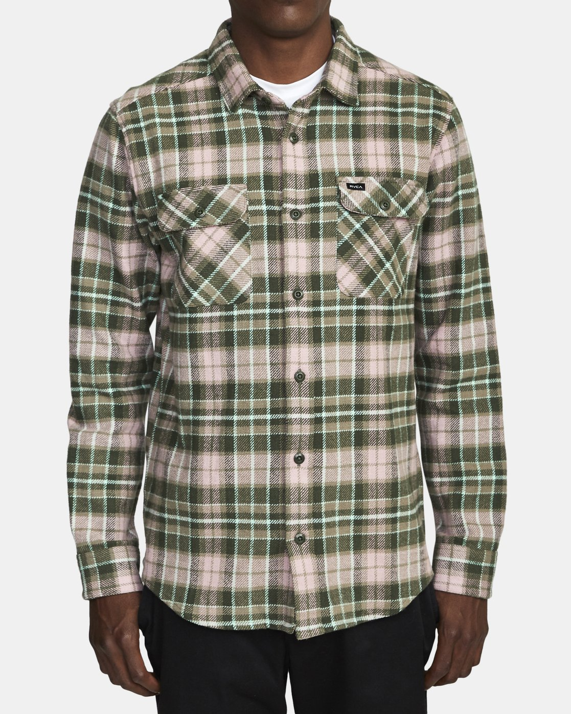 1 OPERATOR FLANNEL LONG SLEEVE SHIRT Green AVYWT00137 RVCA