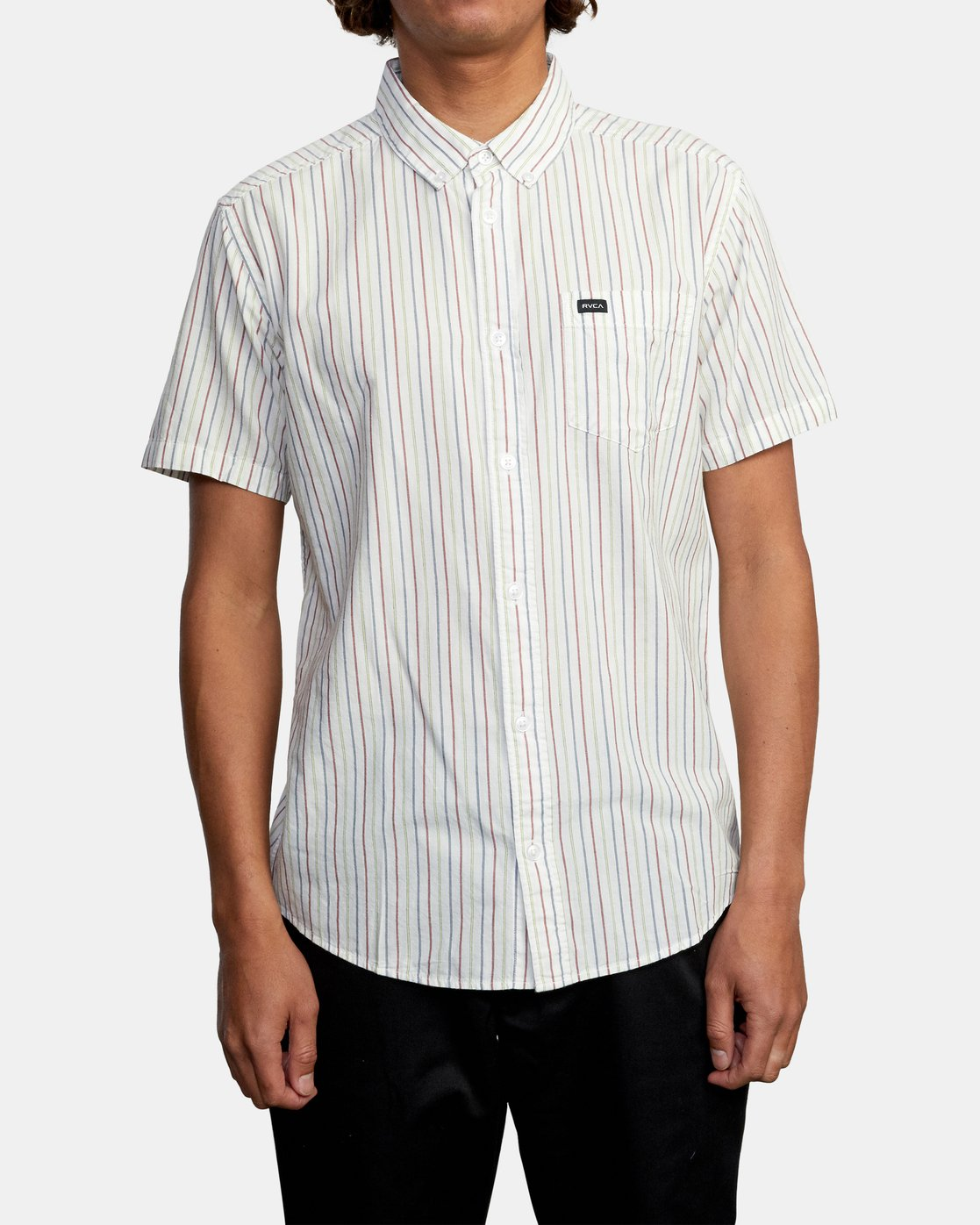 1 CASSIDY STRIPE SHORT SLEEVE SHIRT White AVYWT00149 RVCA