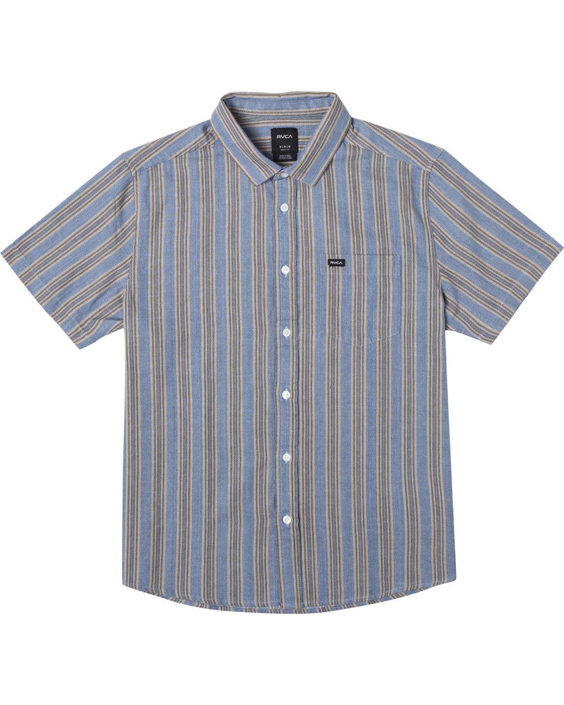 0 Harbour Stripe Short Sleeve Shirt Brown AVYWT00195 RVCA