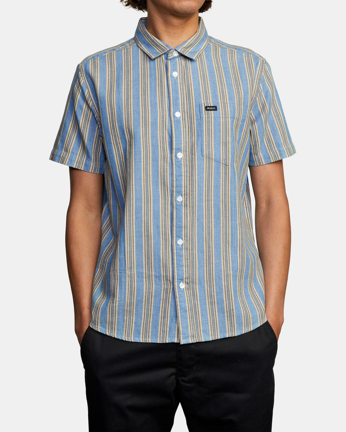 1 Harbour Stripe Short Sleeve Shirt Brown AVYWT00195 RVCA
