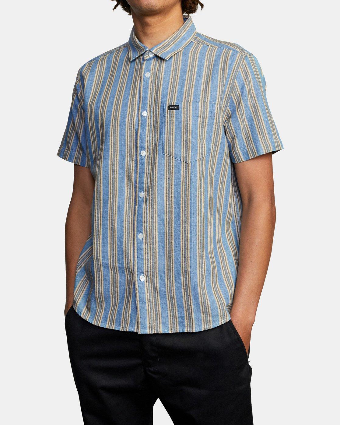 3 Harbour Stripe Short Sleeve Shirt Brown AVYWT00195 RVCA