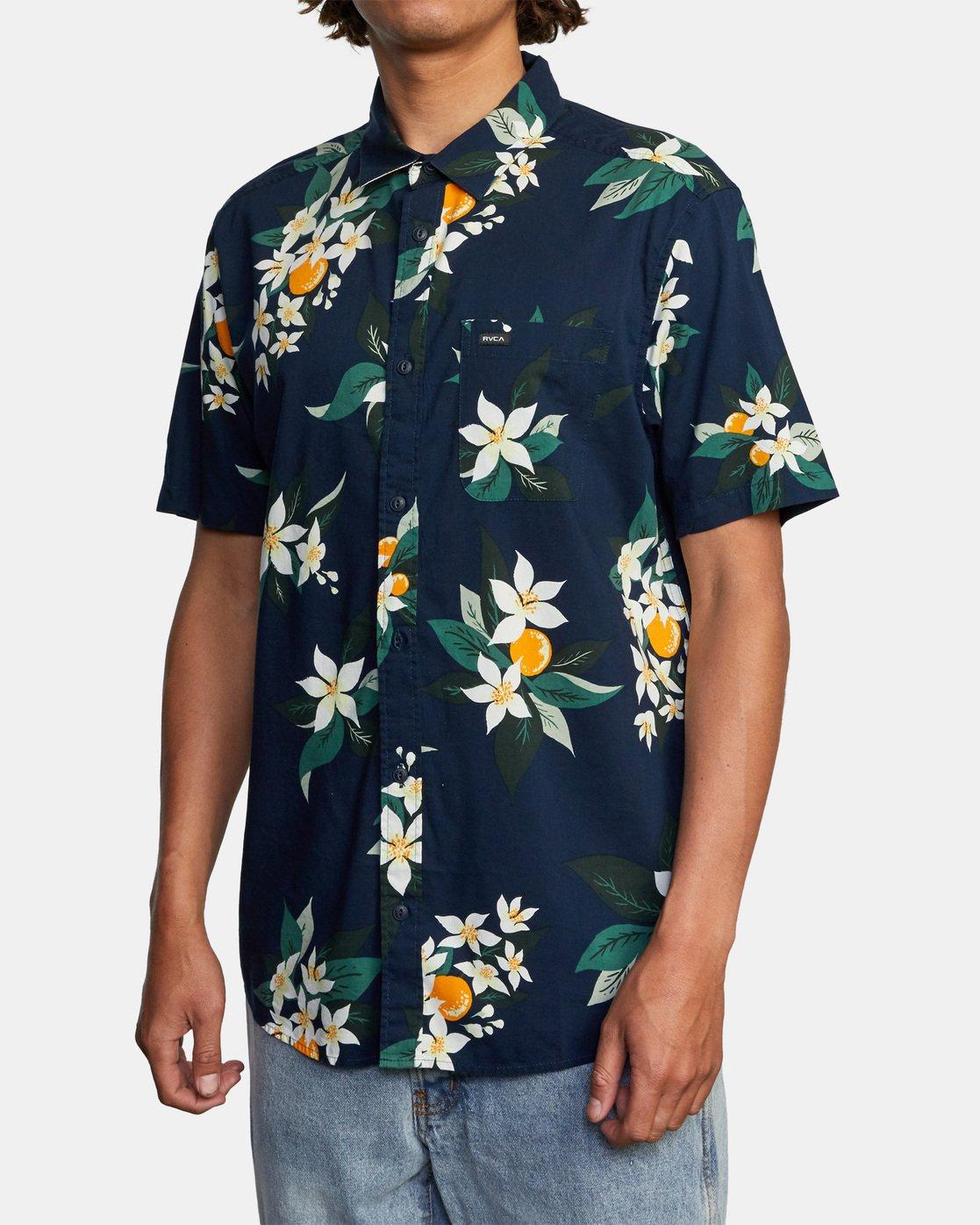 3 Anaheim Short Sleeve Shirt Blue AVYWT00220 RVCA