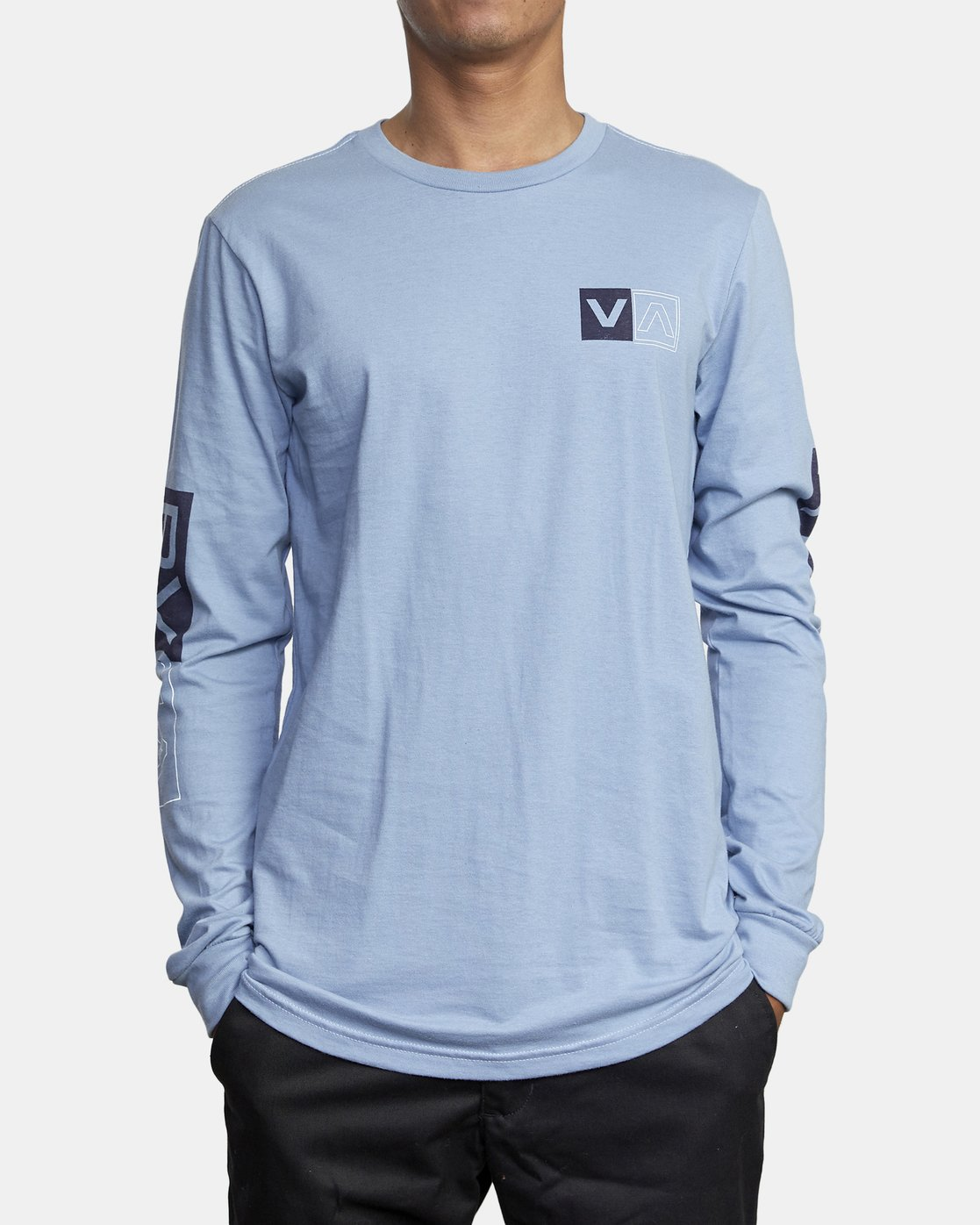 2 DIVIDES LONG SLEEVE TEE Blue AVYZT00134 RVCA
