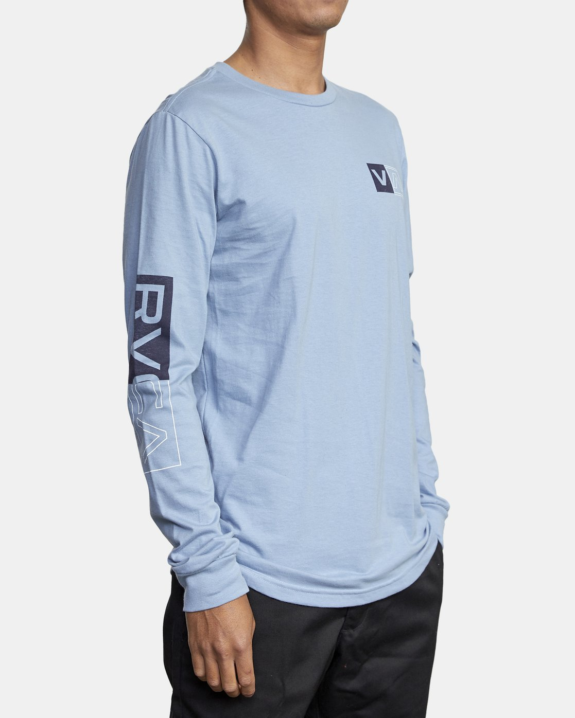 3 DIVIDES LONG SLEEVE TEE Blue AVYZT00134 RVCA