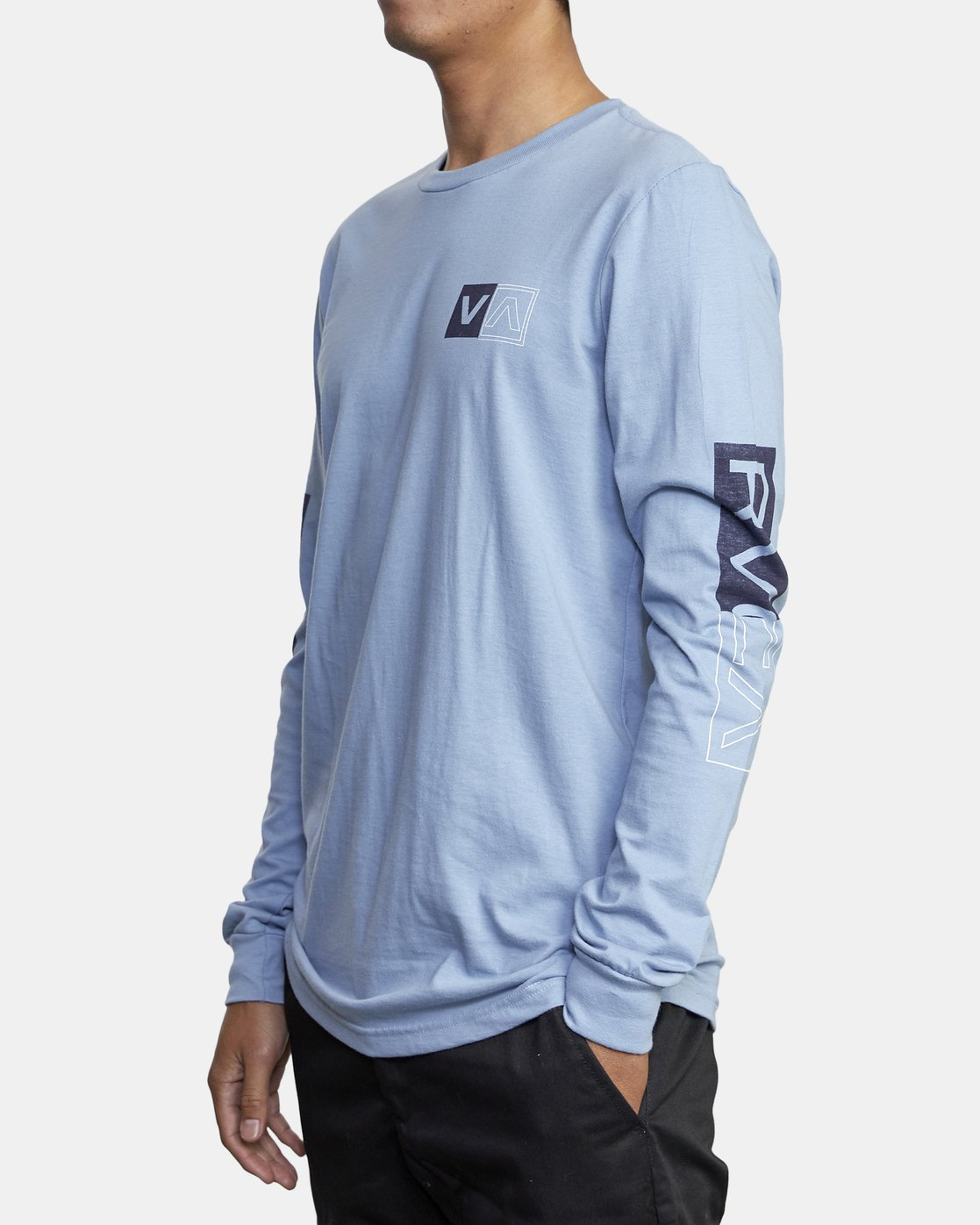 4 DIVIDES LONG SLEEVE TEE Blue AVYZT00134 RVCA
