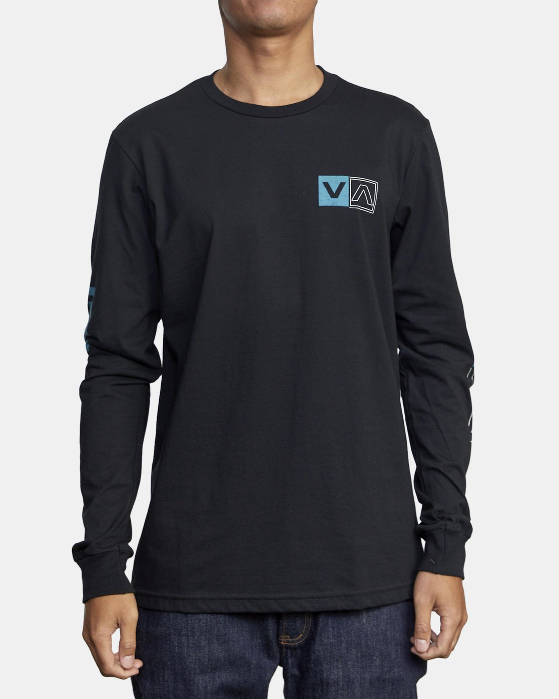 2 DIVIDES LONG SLEEVE TEE Black AVYZT00134 RVCA