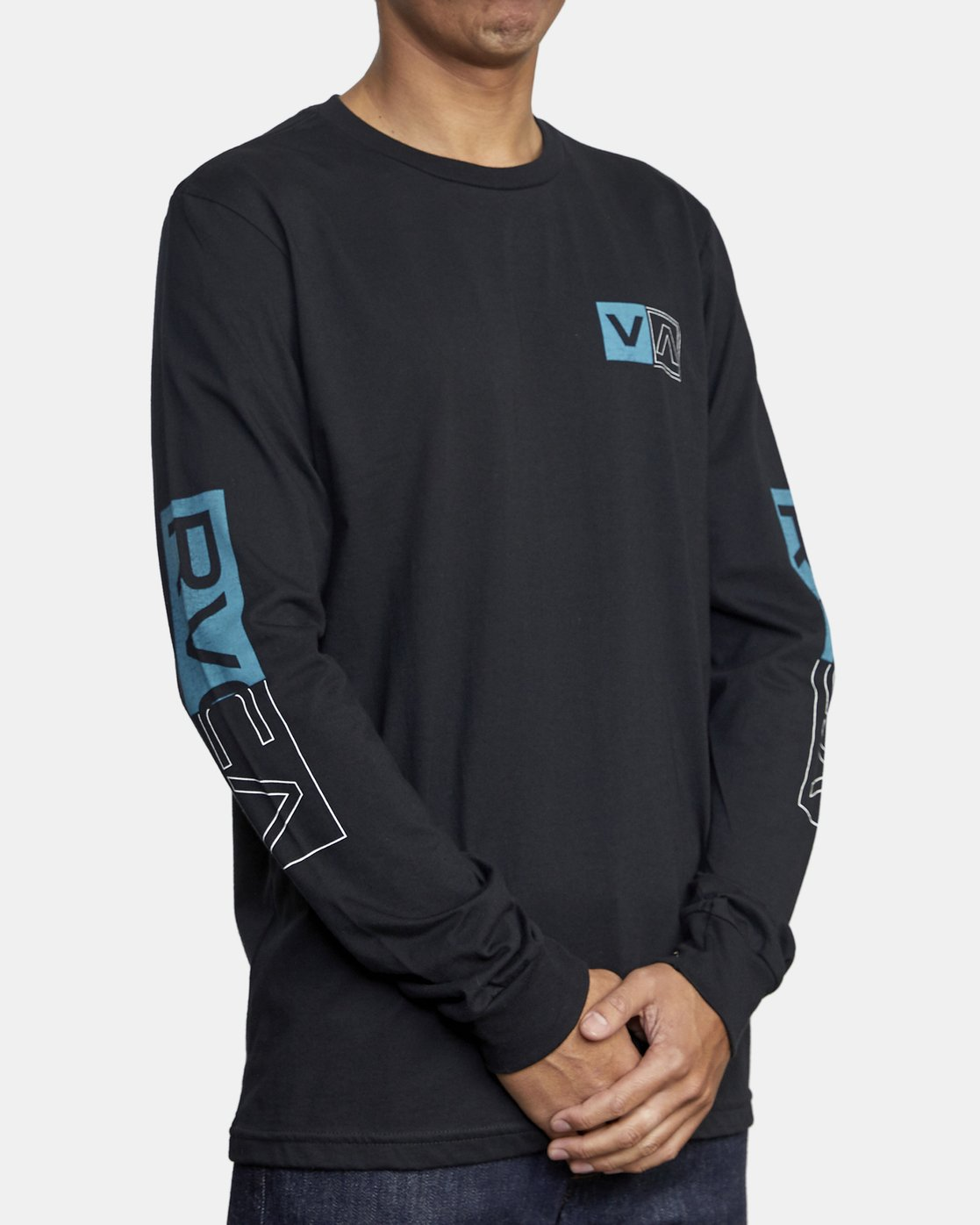 5 DIVIDES LONG SLEEVE TEE Black AVYZT00134 RVCA