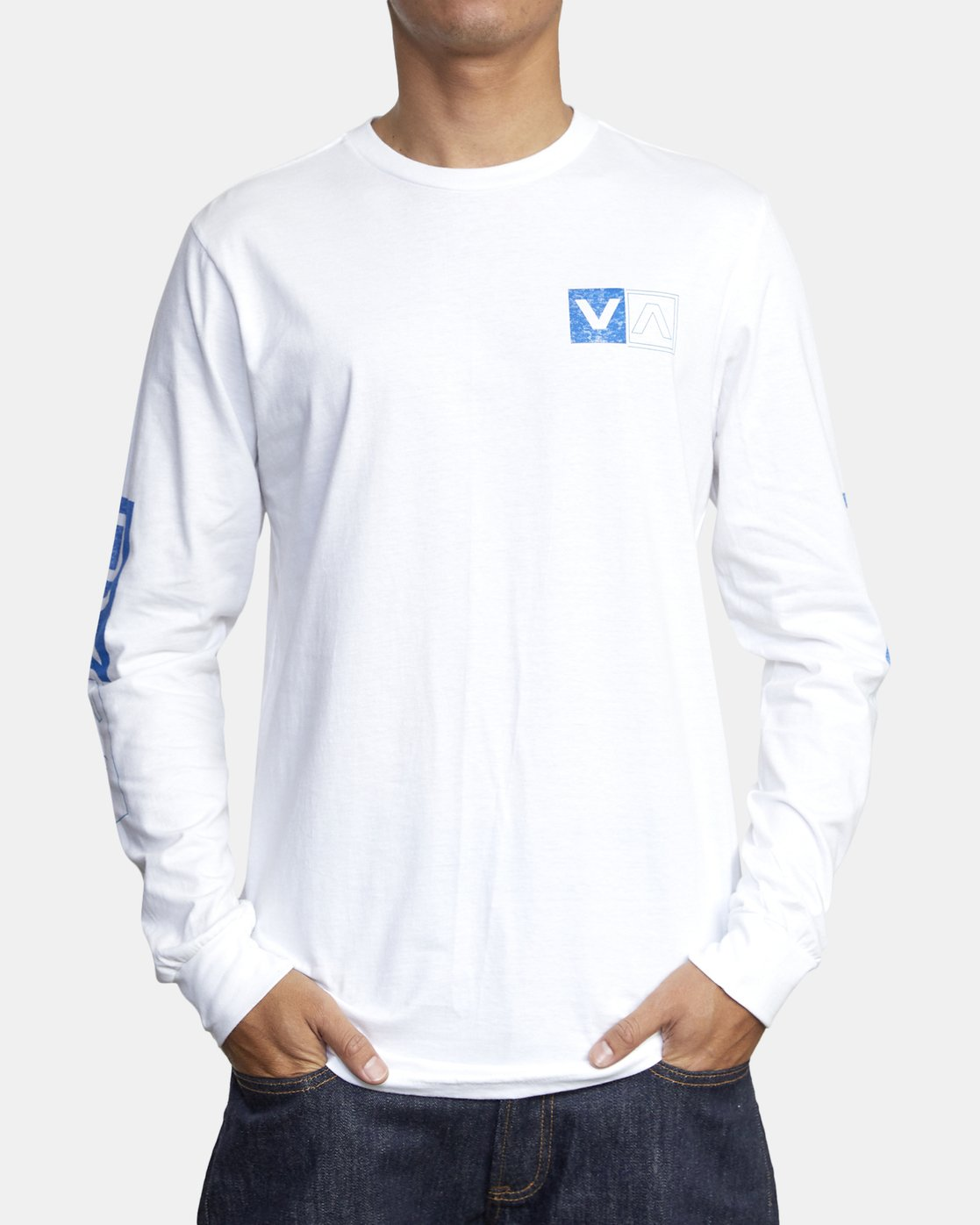 3 DIVIDES LONG SLEEVE TEE White AVYZT00134 RVCA