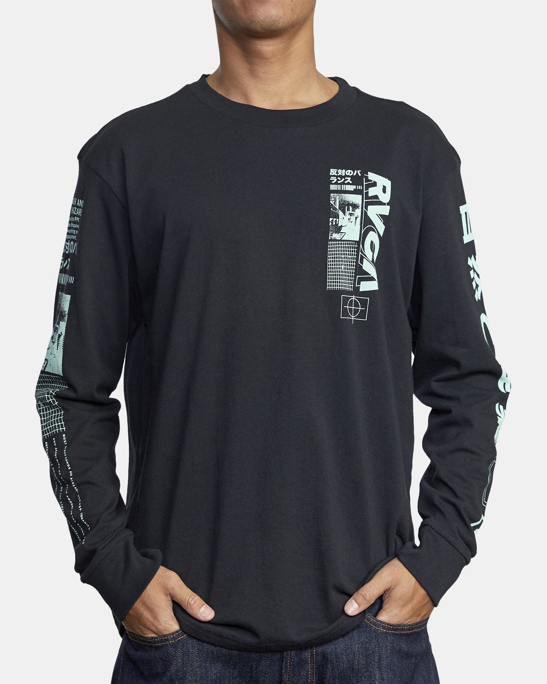 2 FUTURIST LONG SLEEVE TEE Black AVYZT00170 RVCA