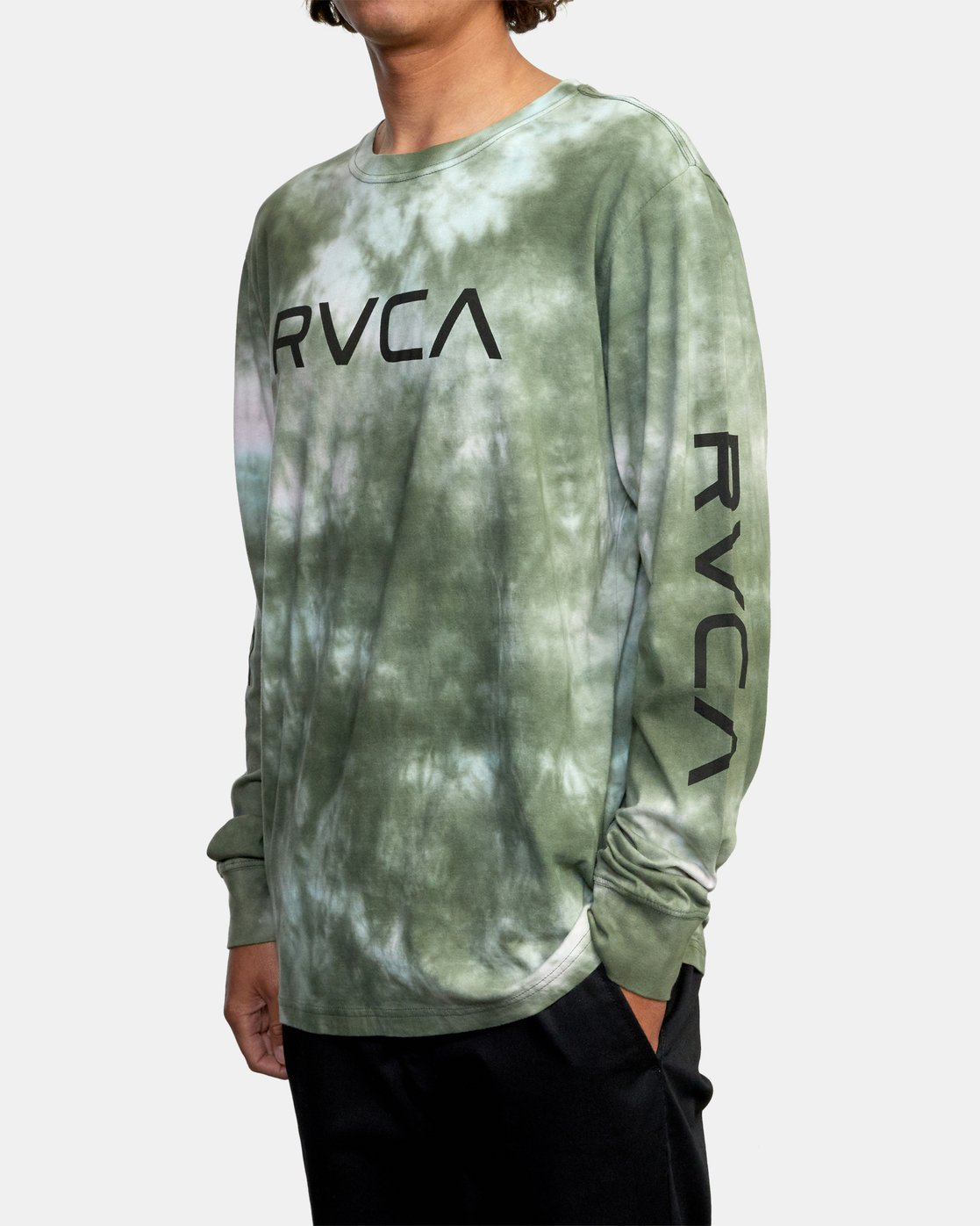 4 BIG RVCA TIE DYE LONG SLEEVE TEE Green AVYZT00223 RVCA