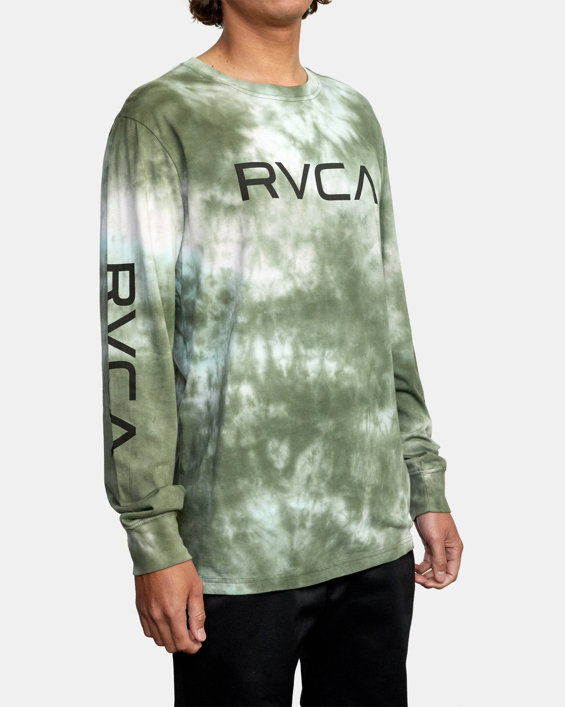 5 BIG RVCA TIE DYE LONG SLEEVE TEE Green AVYZT00223 RVCA