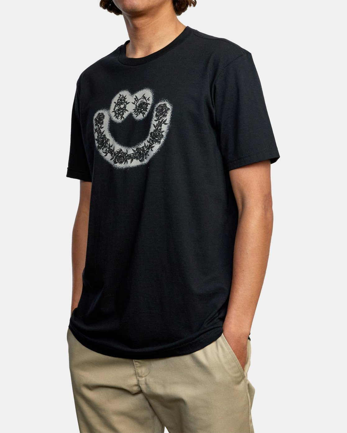 5 SKULL AND ROSES SHORT SLEEVE TEE Black AVYZT00228 RVCA