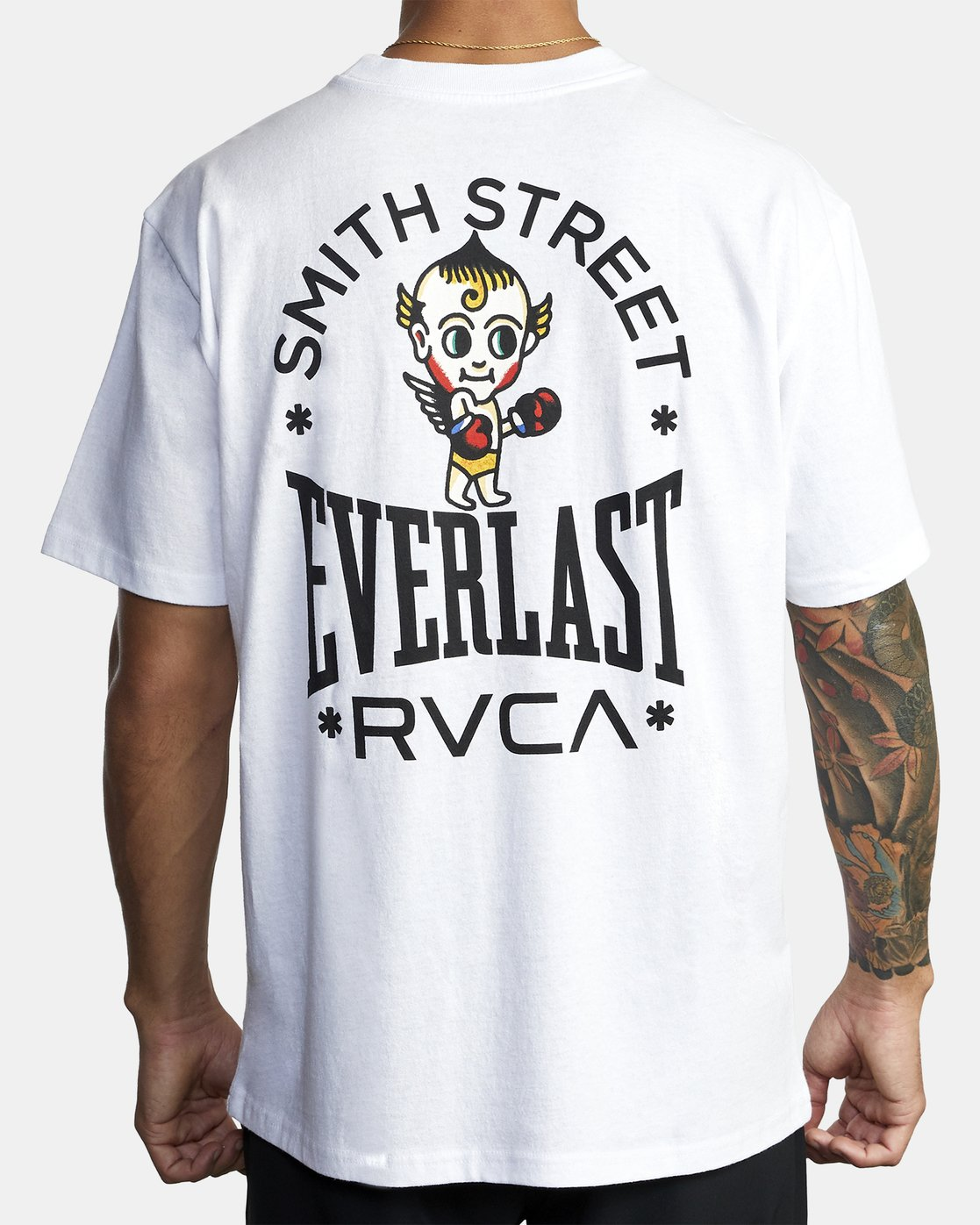 4 EVERLAST X SMITH STREET BIG ANGEL SHORT SLEEVE WORKOUT T-SHIRT White AVYZT00282 RVCA
