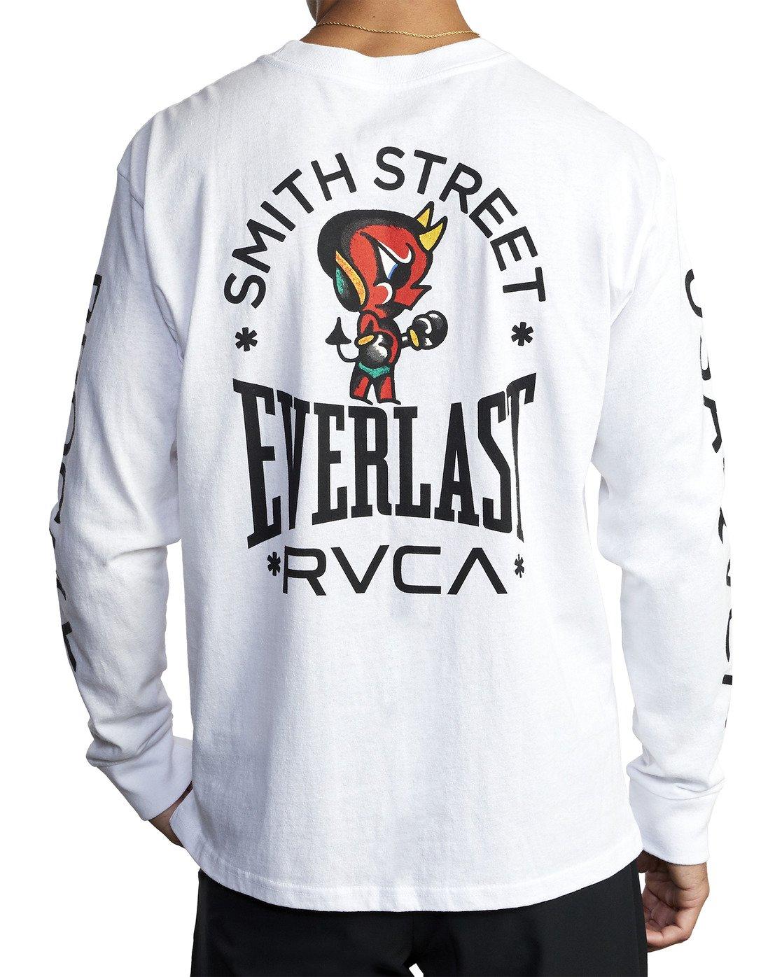 6 EVERLAST X SMITH STREET BIG DEVIL LONG SLEEVE WORKOUT T-SHIRT White AVYZT00284 RVCA