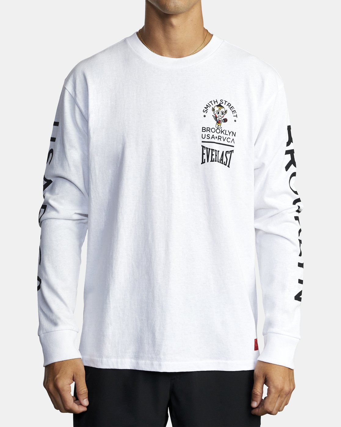 2 EVERLAST X SMITH STREET BIG DEVIL LONG SLEEVE WORKOUT T-SHIRT White AVYZT00284 RVCA