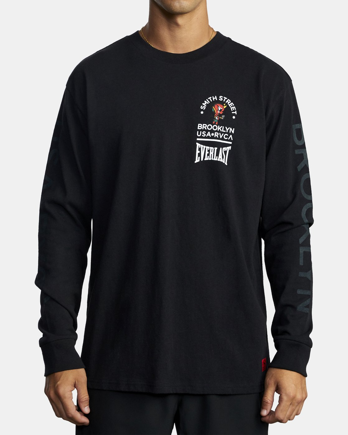 2 EVERLAST X SMITH STREET BIG ANGEL LONG SLEEVE WORKOUT T-SHIRT Black AVYZT00285 RVCA