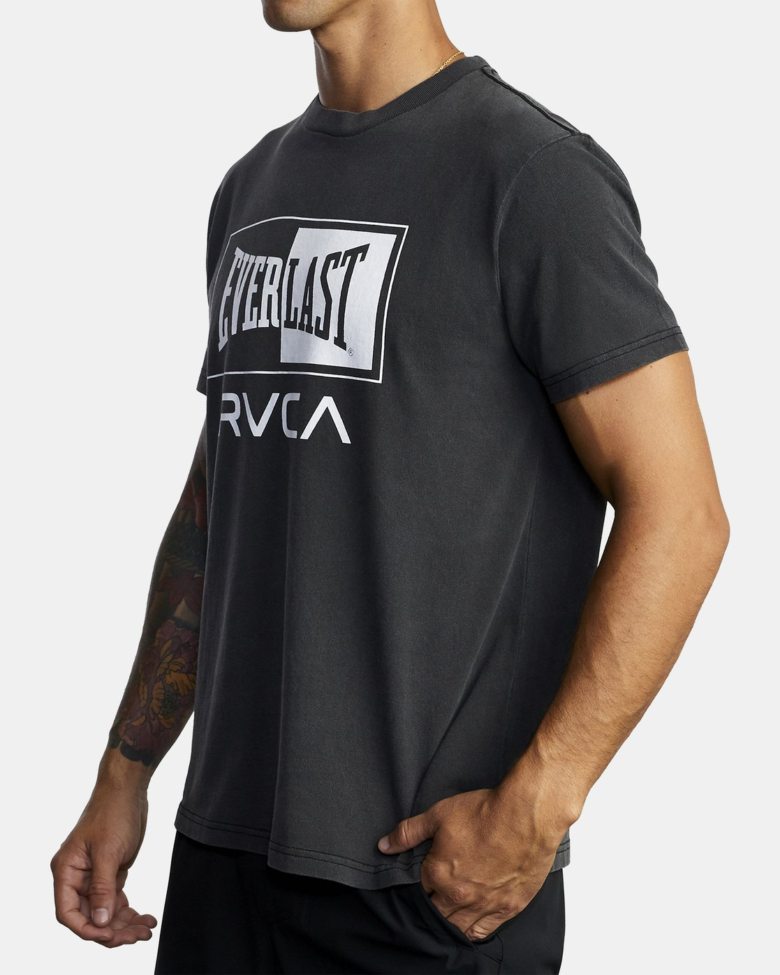 4 EVERLAST BOX SHORT SLEEVE WORKOUT T-SHIRT Black AVYZT00287 RVCA