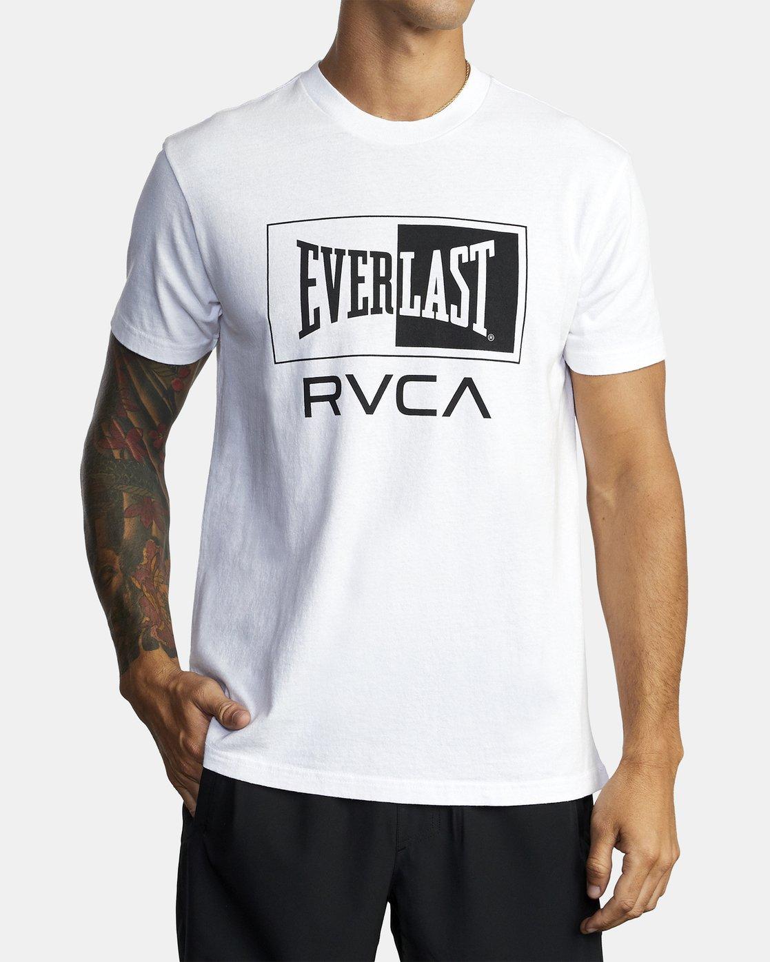 2 EVERLAST BOX SHORT SLEEVE WORKOUT T-SHIRT White AVYZT00287 RVCA