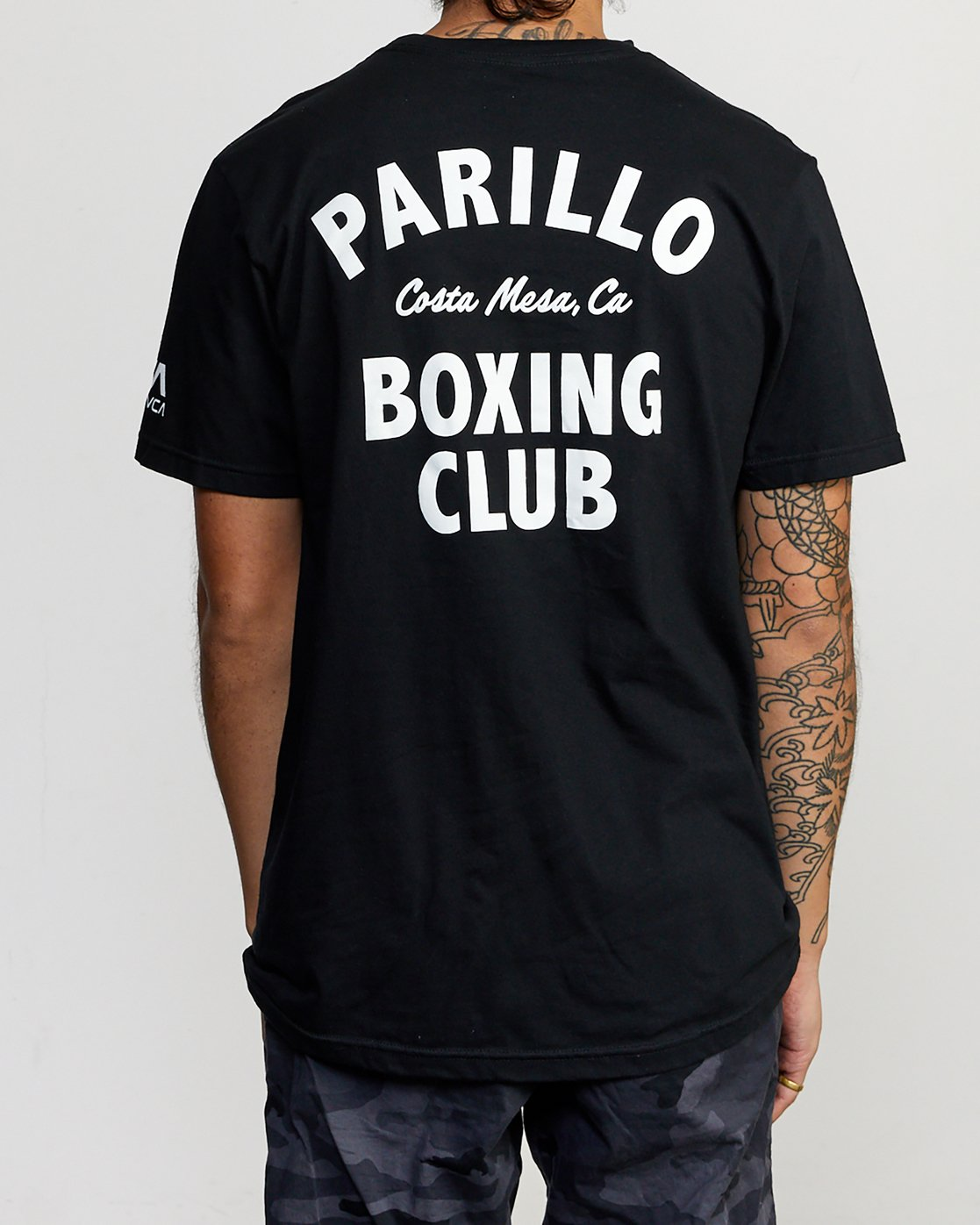 3 Parillo Boxing Club Short Sleeve T-Shirt Black AVYZT00298 RVCA