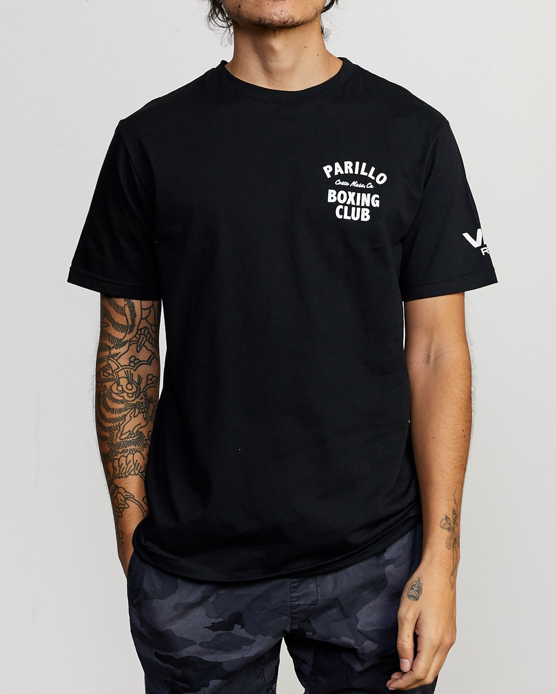 2 Parillo Boxing Club Short Sleeve T-Shirt Black AVYZT00298 RVCA