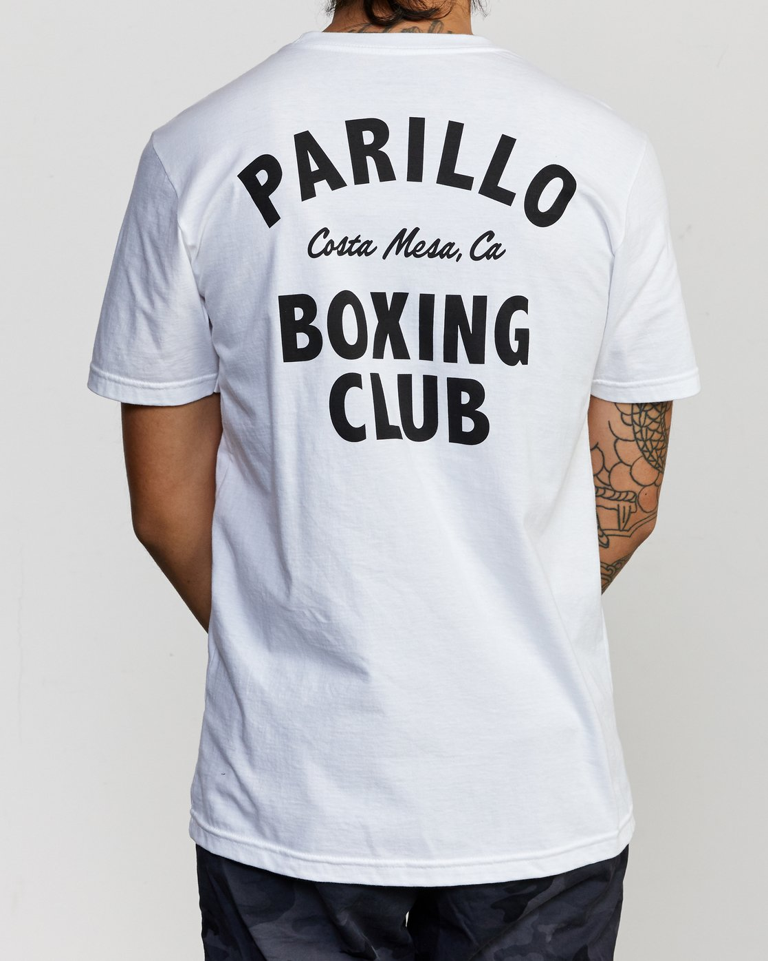 3 Parillo Boxing Club Short Sleeve T-Shirt White AVYZT00298 RVCA